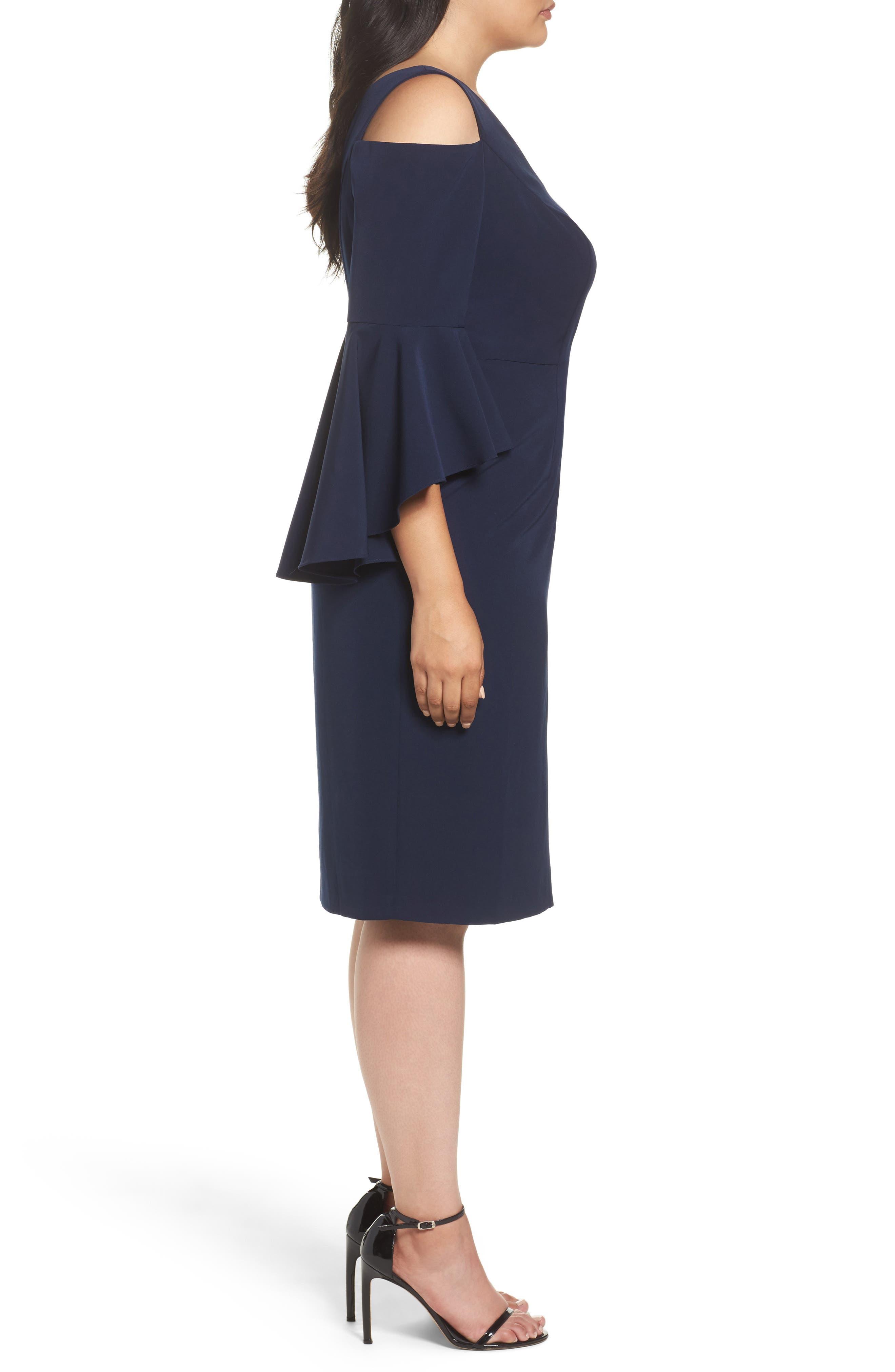 Cold Shoulder Sheath Dress,                             Alternate thumbnail 3, color,                             Patriot Blue