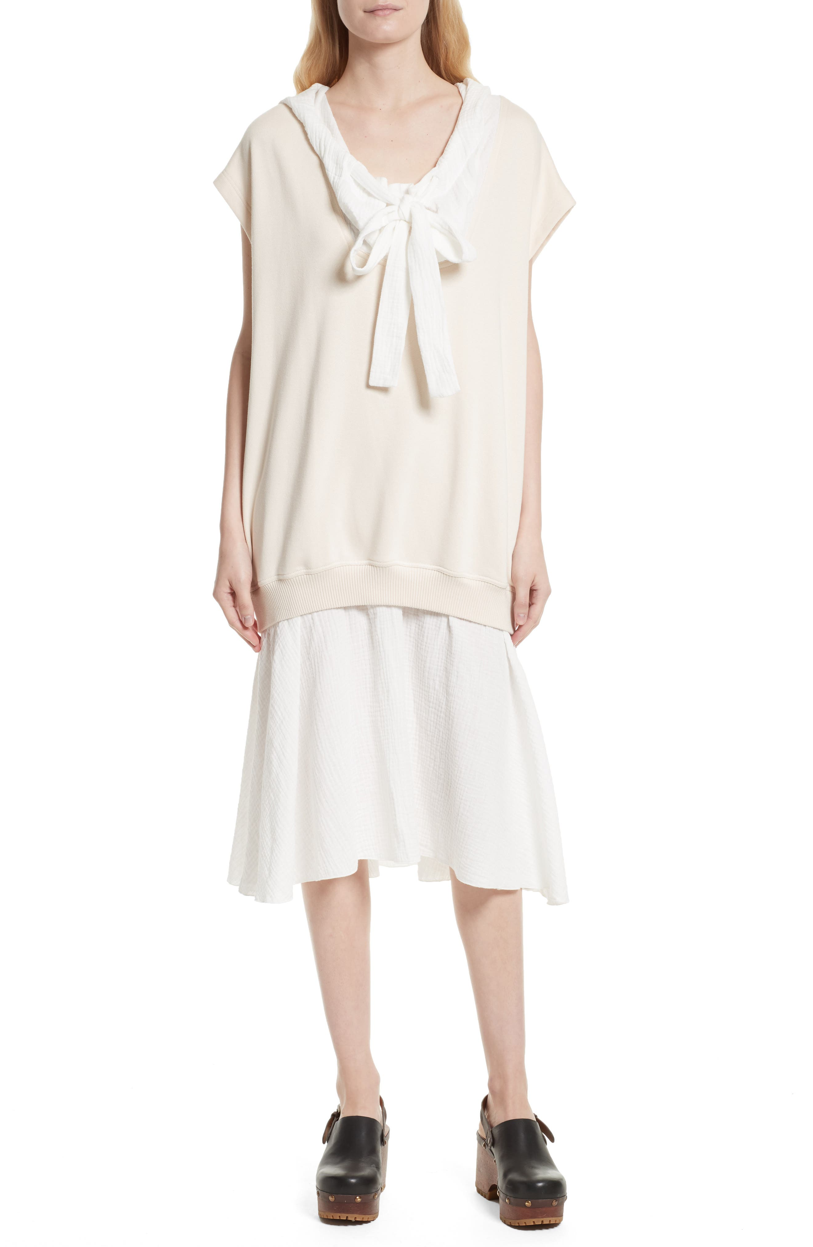 Hooded Sweatshirt Overlay Dress,                         Main,                         color, Abstract White