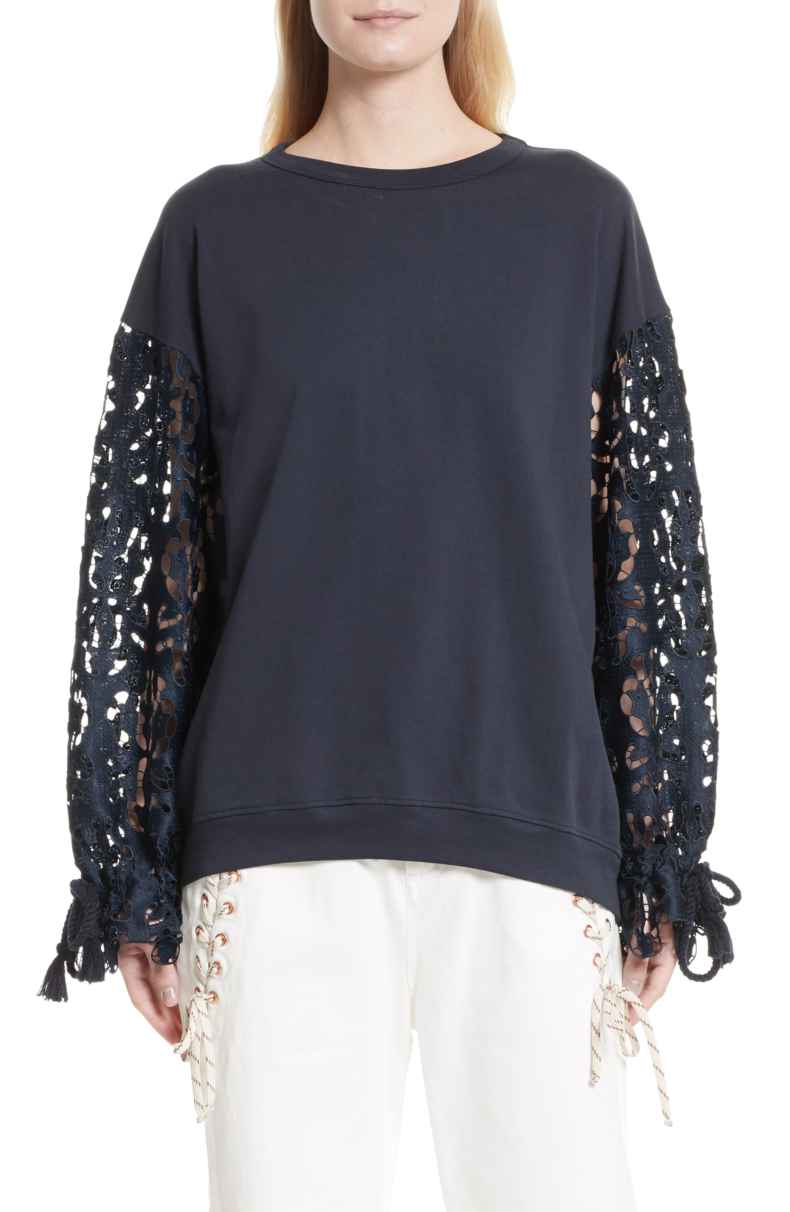 Main Image - See by Chloé Lace Sleeve Jersey Top