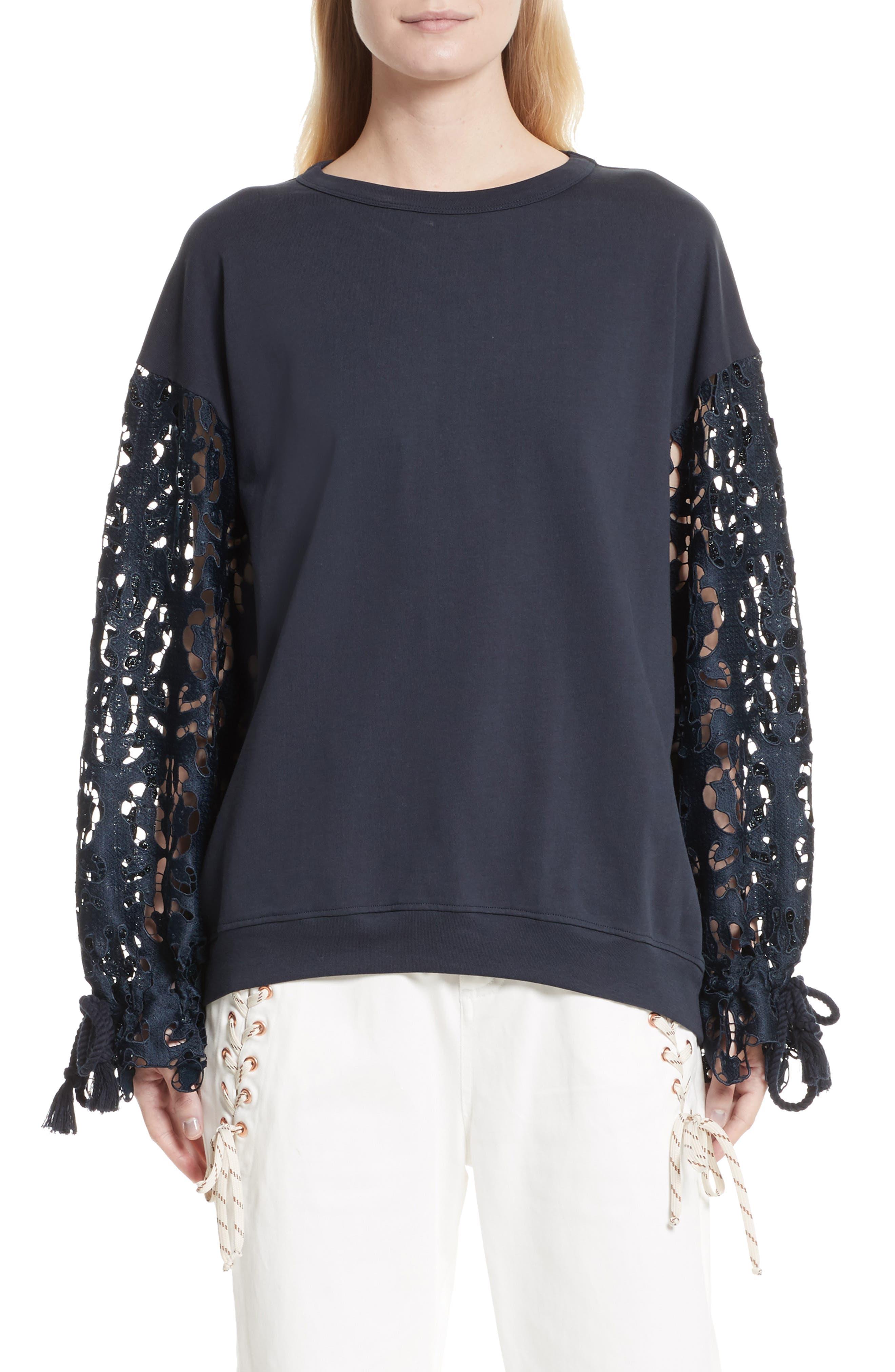 Lace Sleeve Jersey Top,                         Main,                         color, Ultramarine