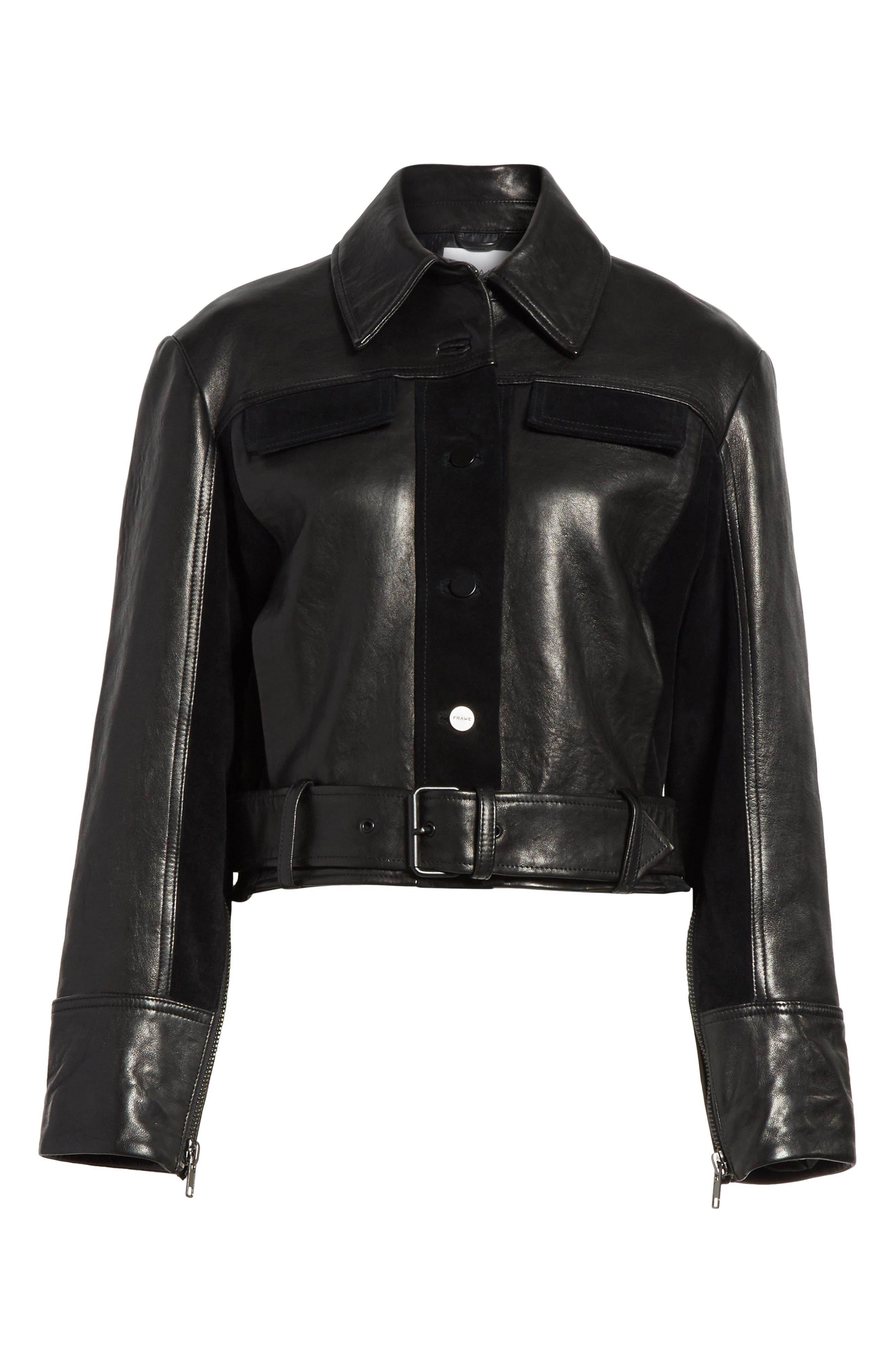 Alternate Image 7  - FRAME Paneled Leather & Suede Jacket