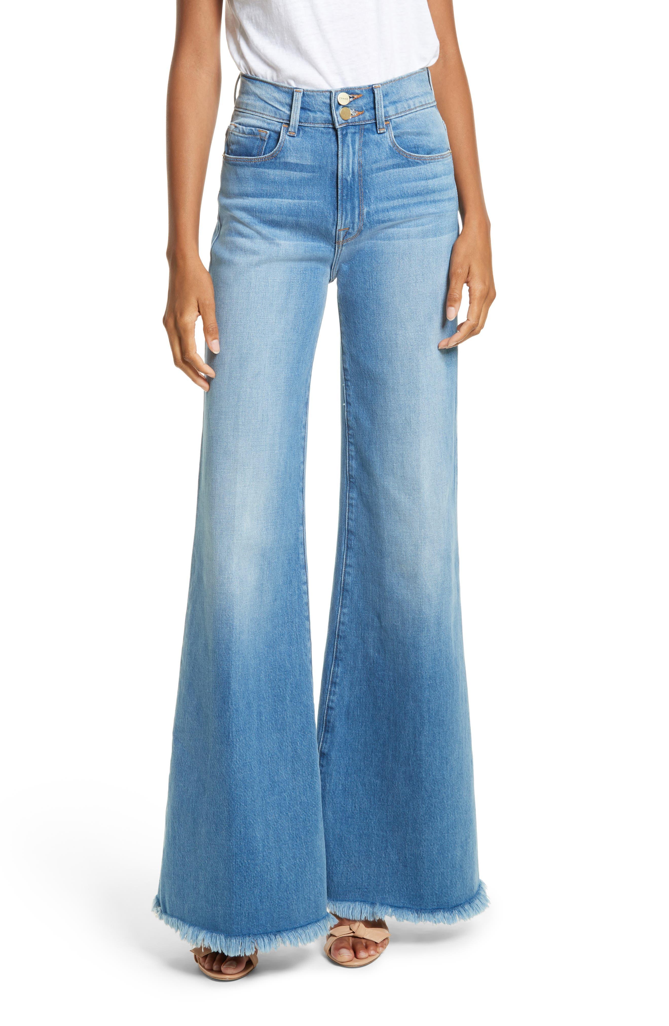 Le Palazzo High Waist Raw Edge Jeans,                         Main,                         color, Opus