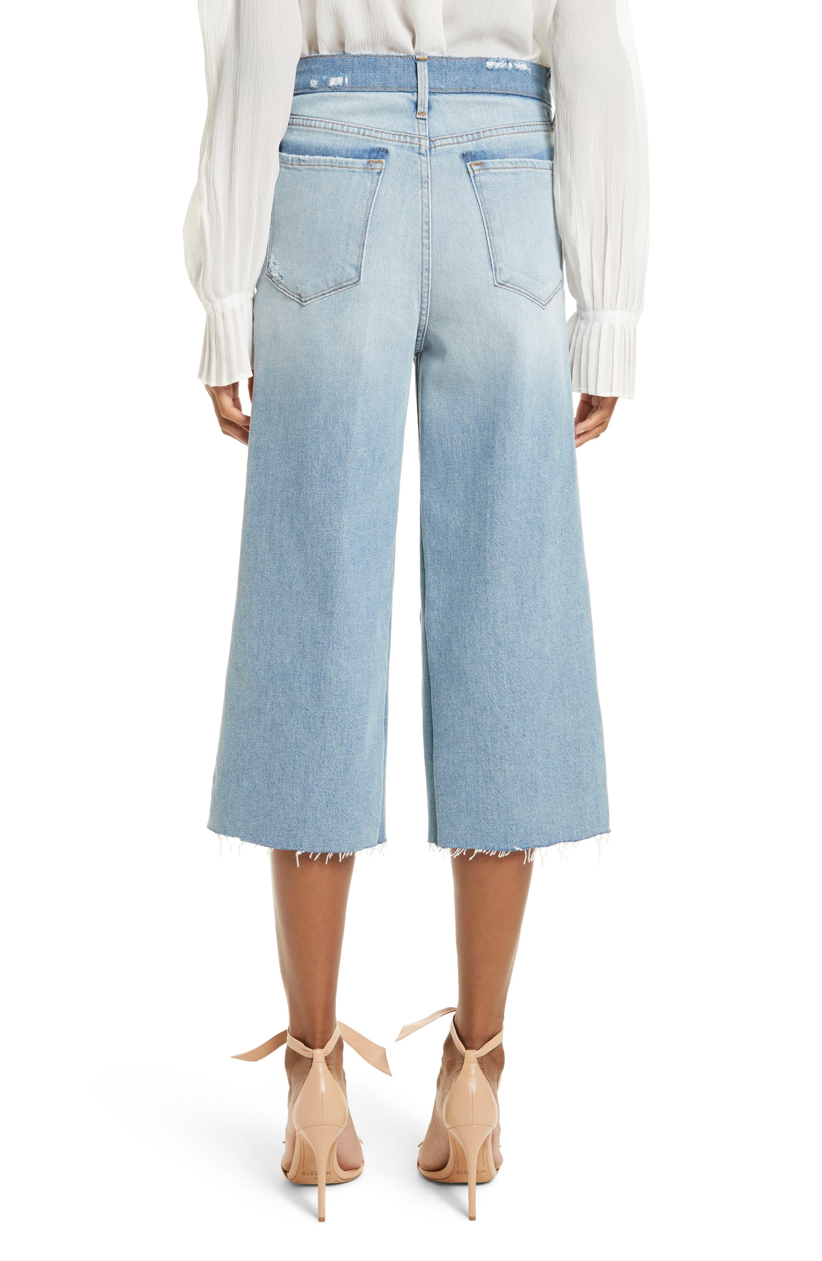 Le Reconstructed High Waist Crop Wide Leg Jeans,                             Alternate thumbnail 3, color,                             Blue