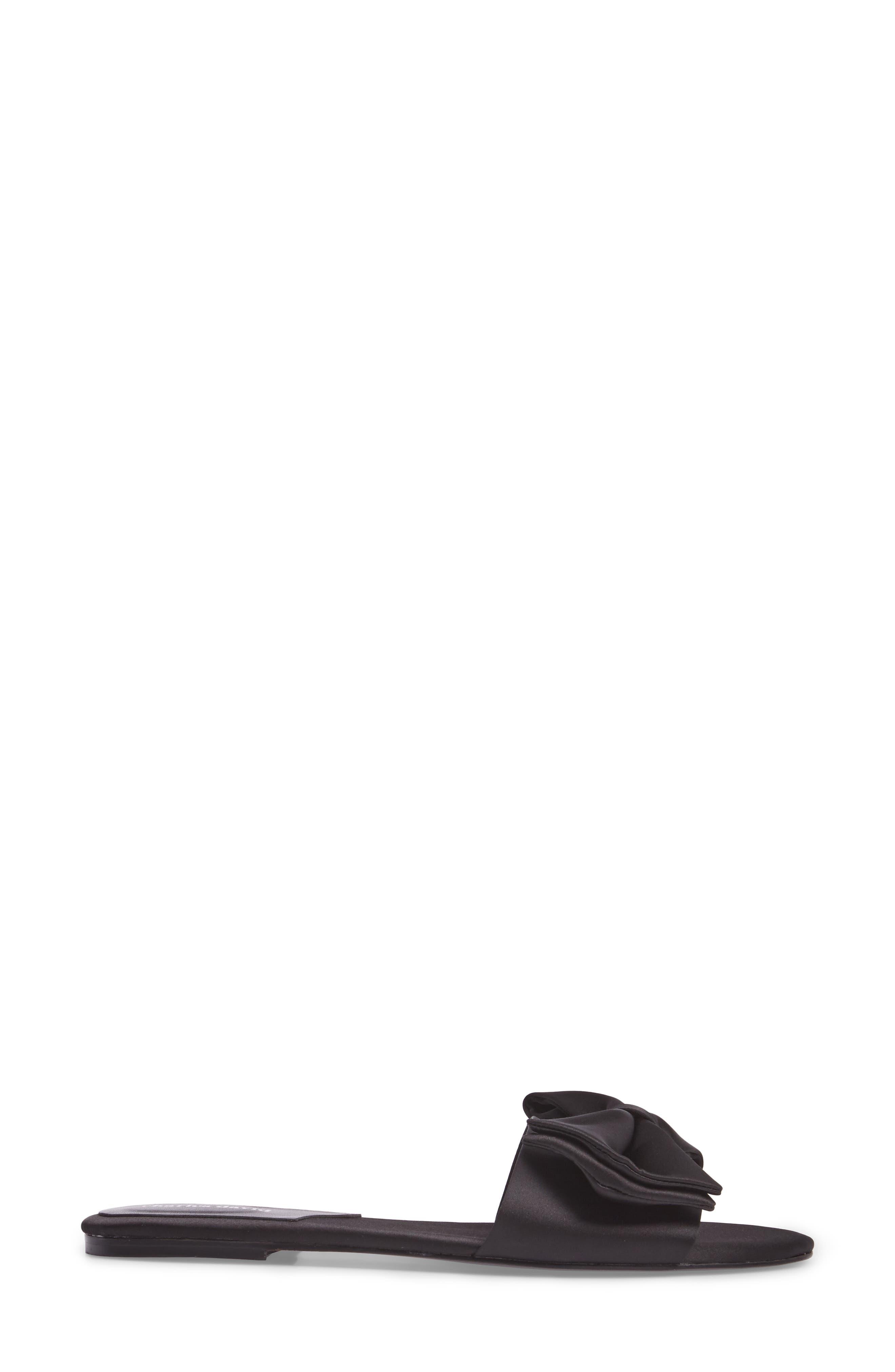 Bow Slide Sandal,                             Alternate thumbnail 3, color,                             Black Satin