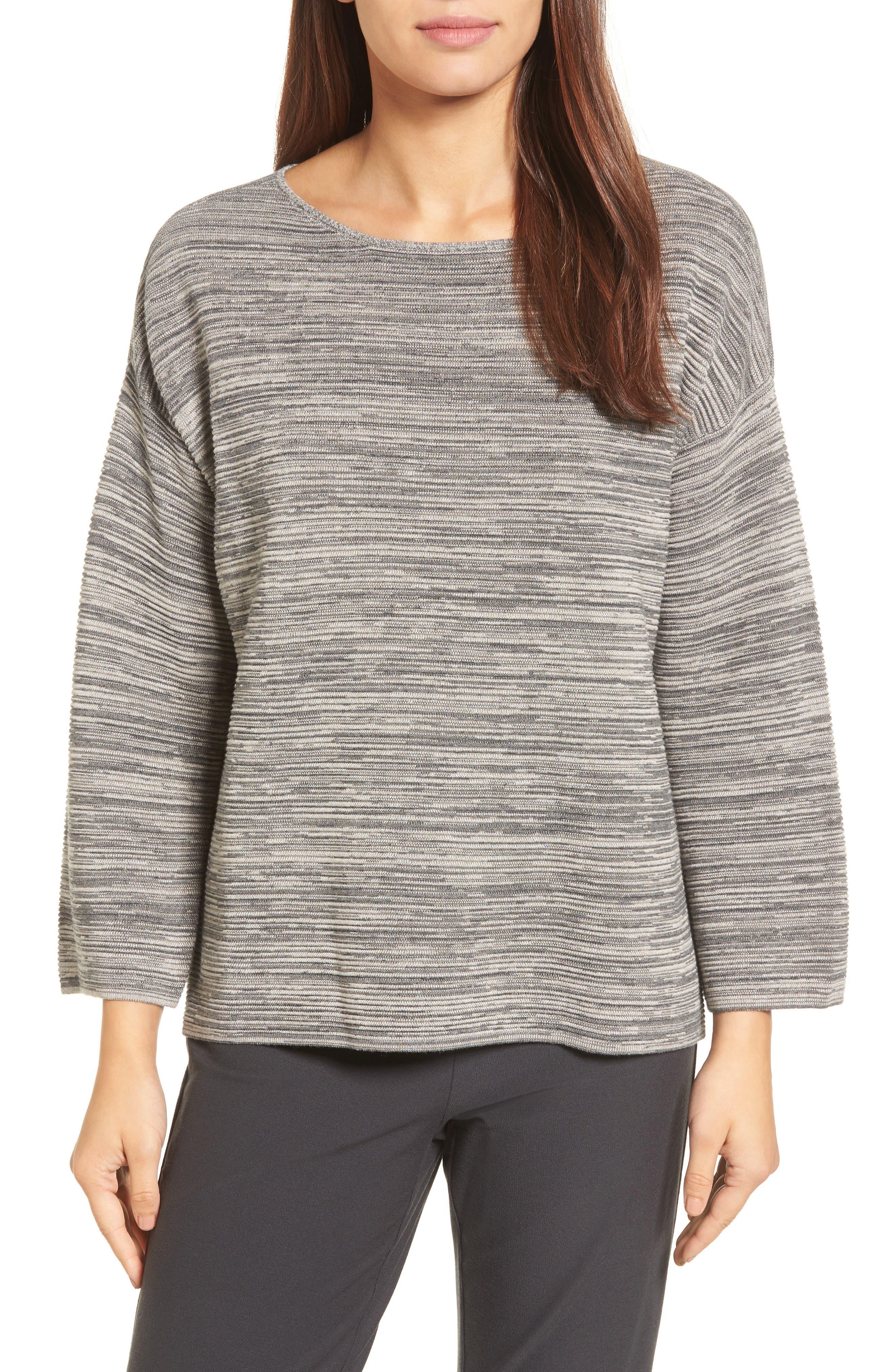 Alternate Image 1 Selected - Eileen Fisher Tencel® & Organic Cotton Sweater