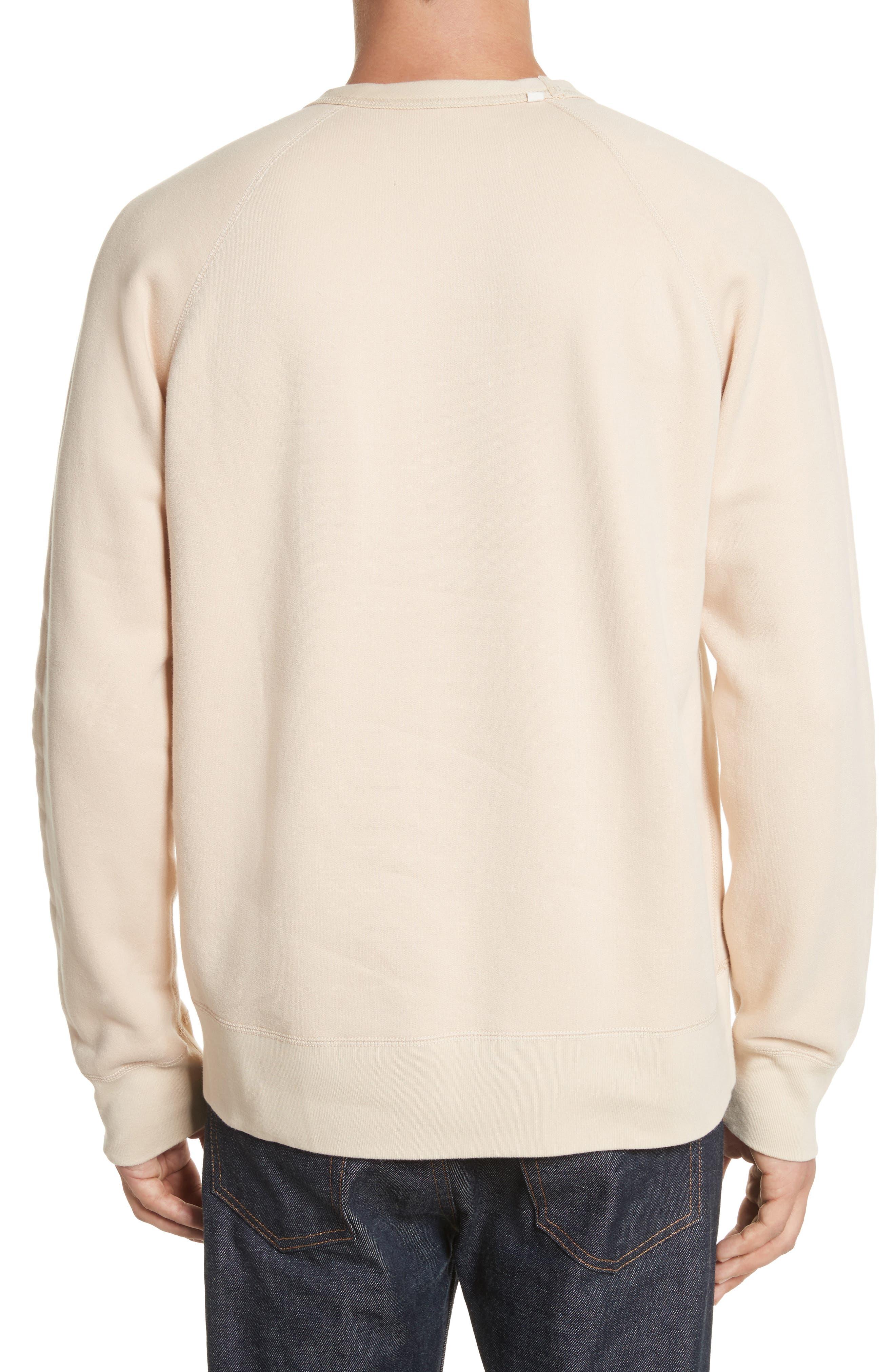 Reversible Raglan Crewneck Sweatshirt,                             Alternate thumbnail 2, color,                             Beige