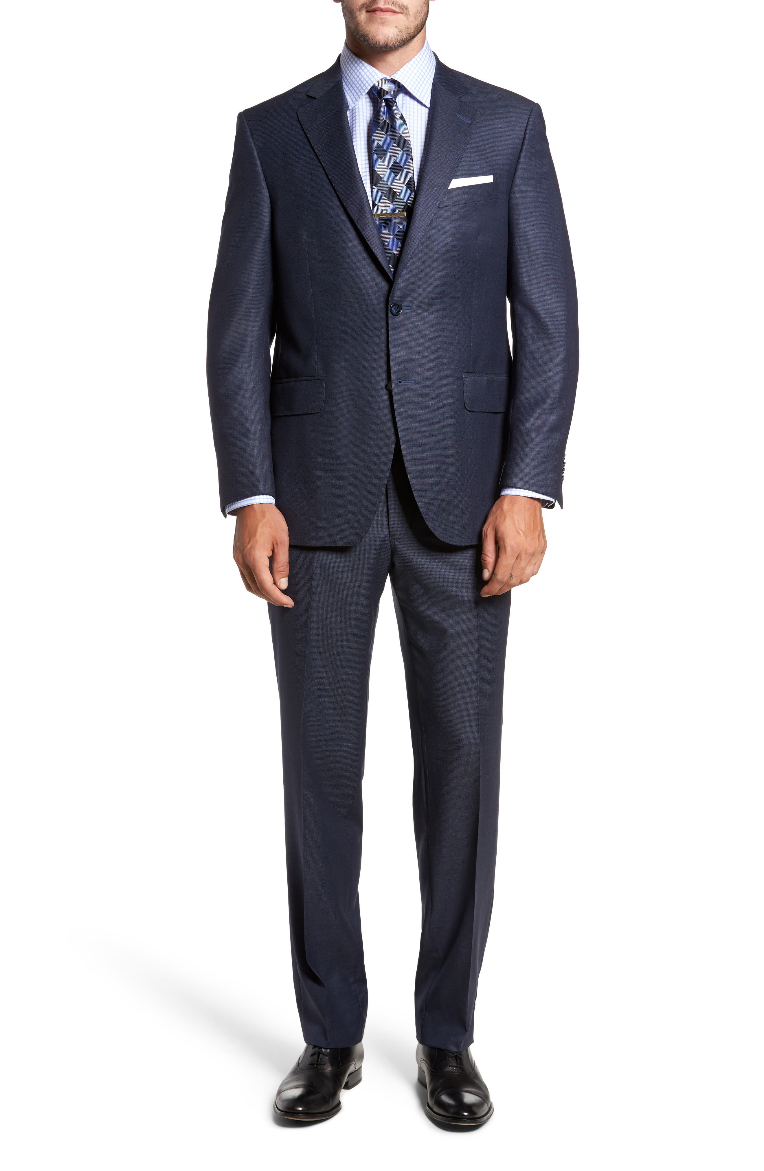 Flynn Classic Fit Solid Wool Suit,                         Main,                         color, Blue