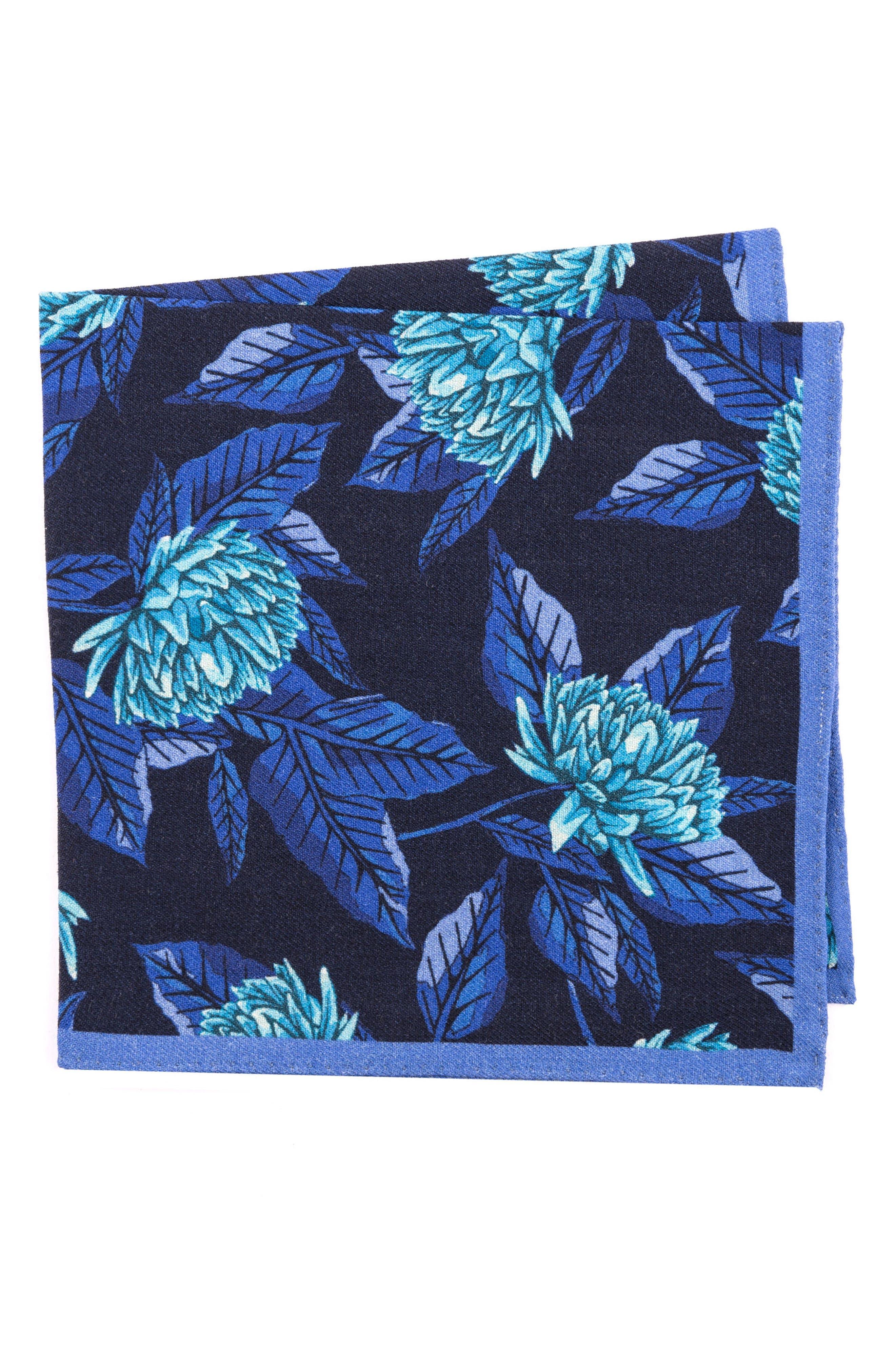 Floral Wool Pocket Square,                         Main,                         color, 400 Blue
