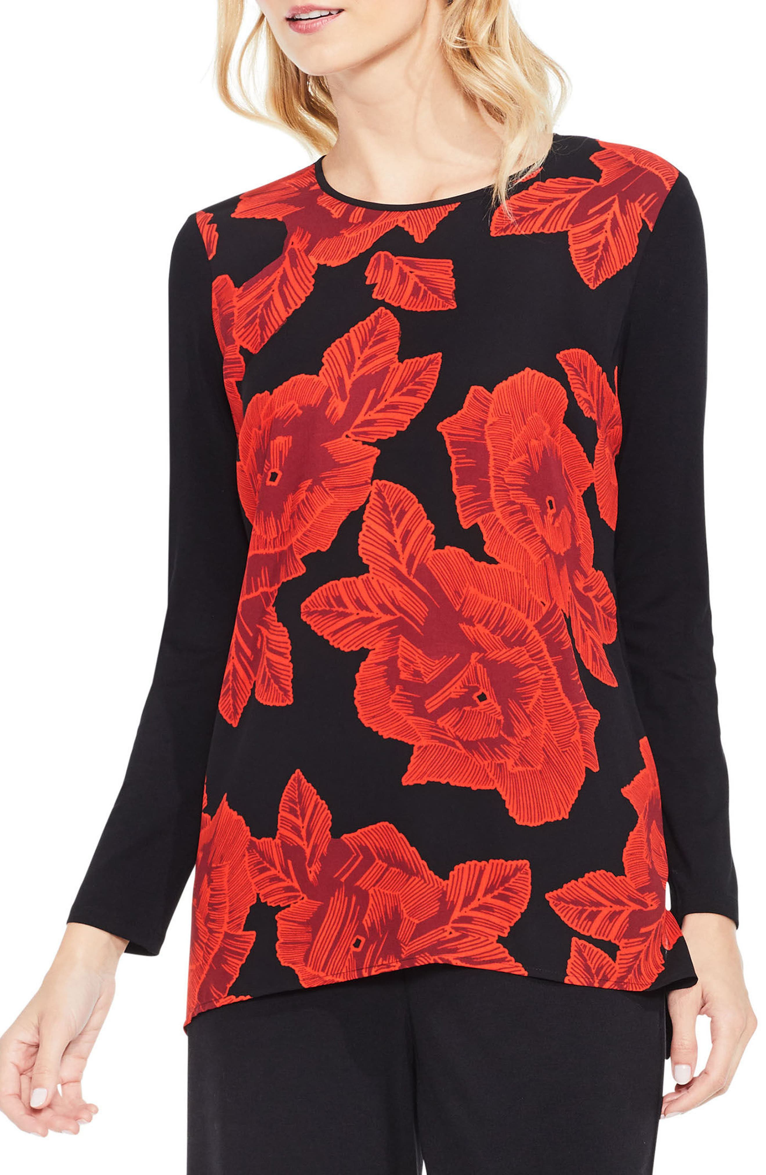 Alternate Image 1 Selected - Vince Camuto Floral Mixed Media Top