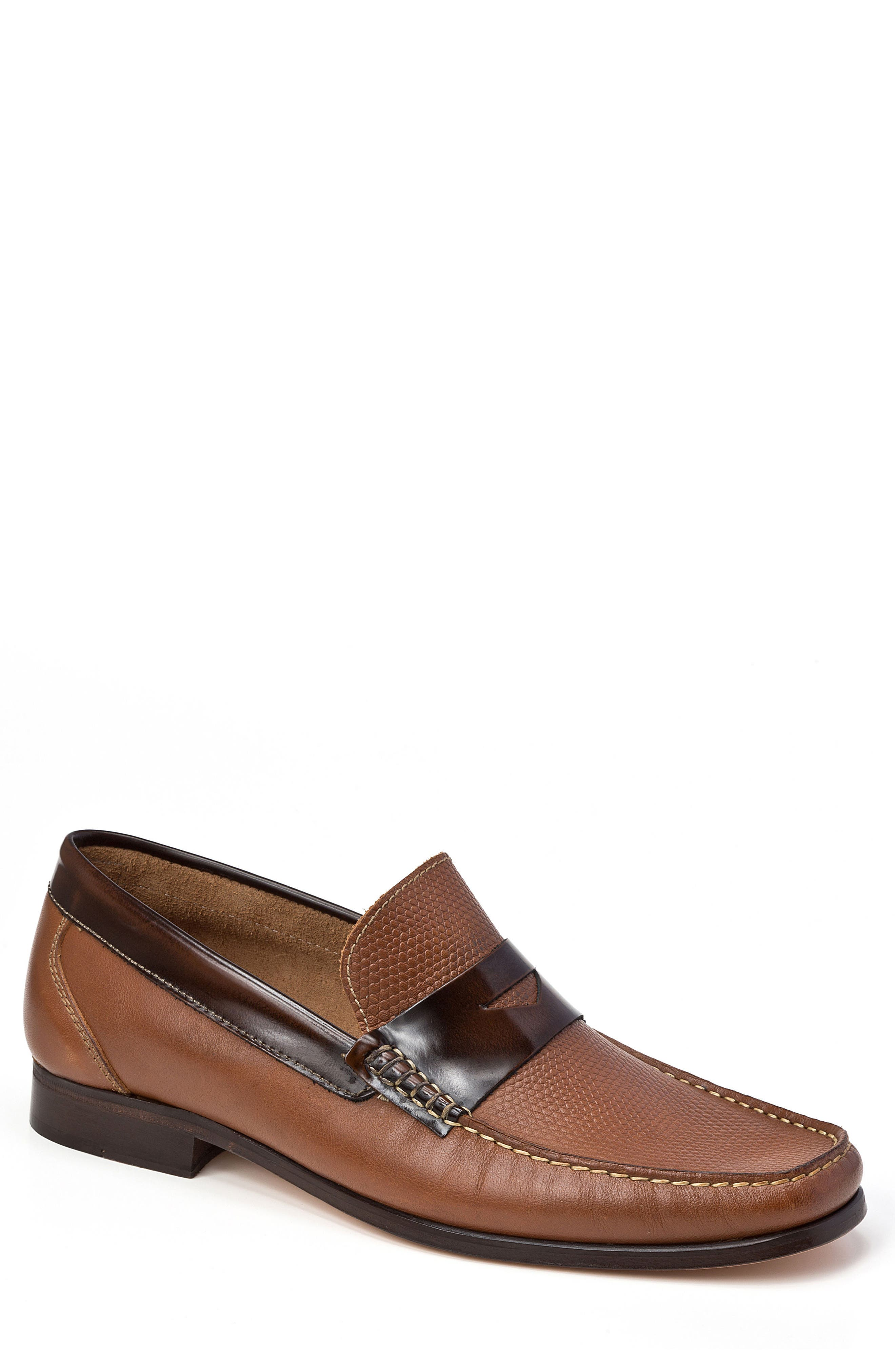 Bilbao Pebble Embossed Penny Loafer,                             Main thumbnail 1, color,                             Tan