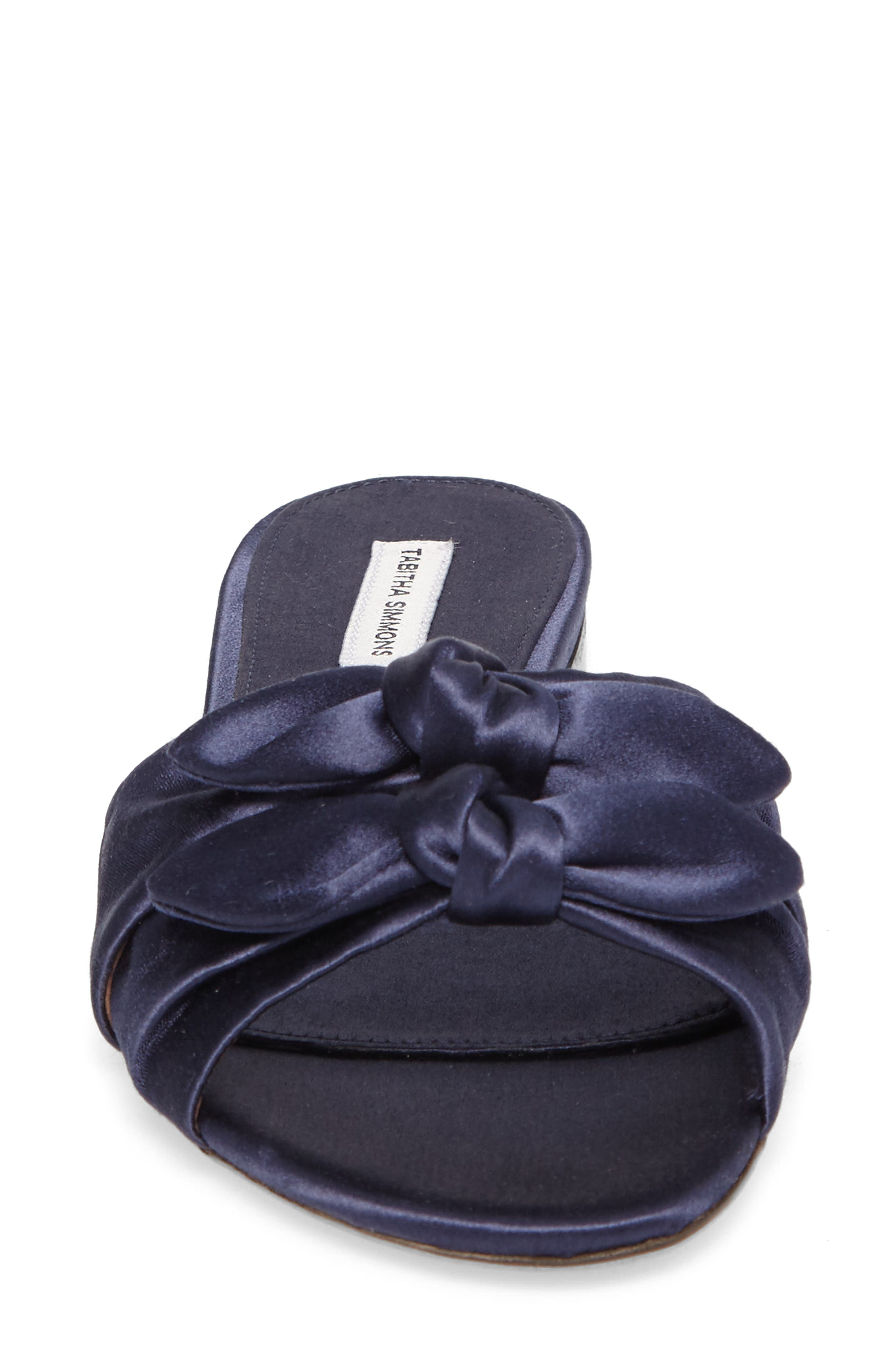 Cleo Knotted Bow Slide Sandal,                             Alternate thumbnail 4, color,                             Navy