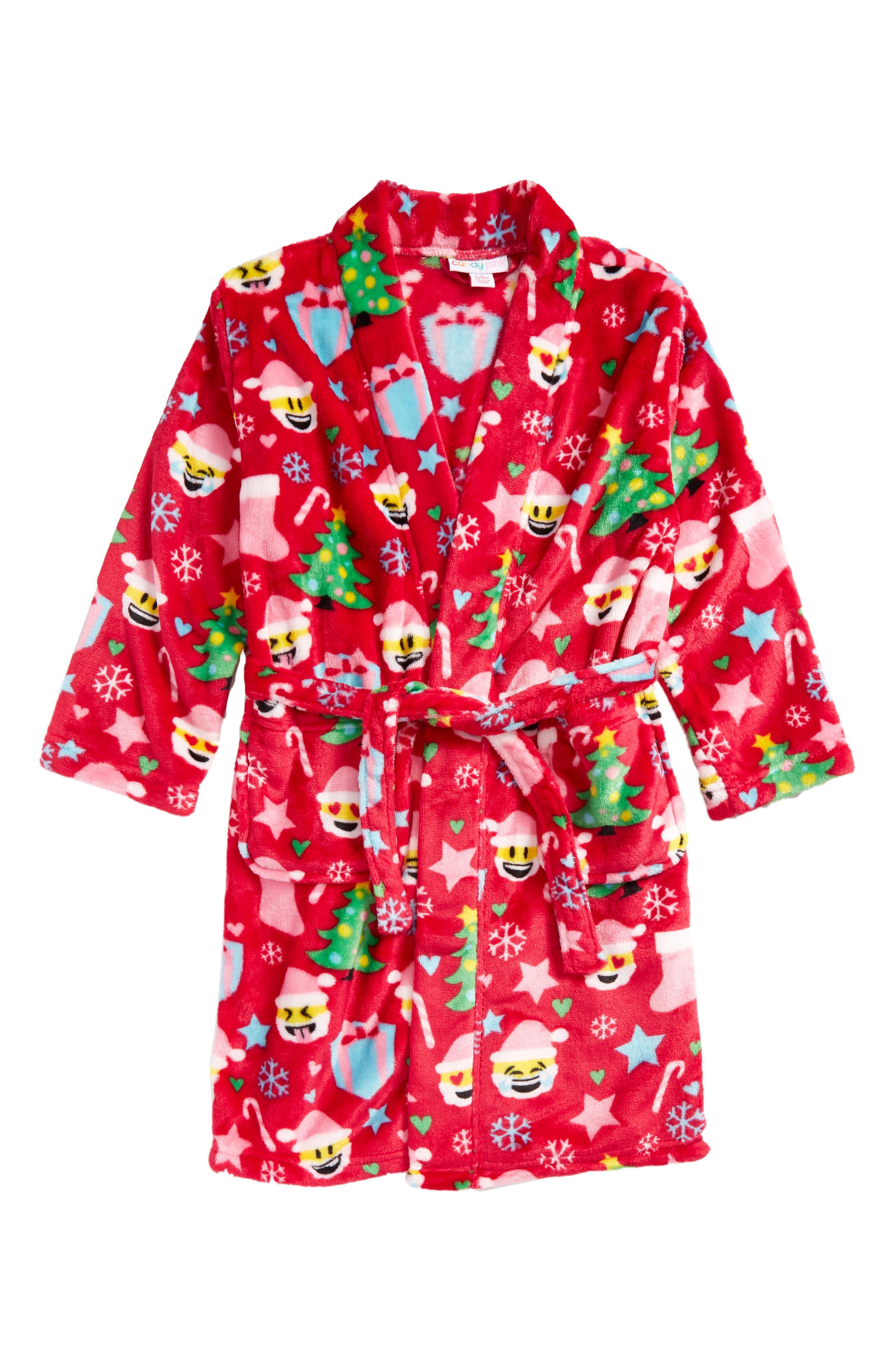 Alternate Image 1 Selected - Candy Pink Christmas Emoji Robe (Little Girls & Big Girls)