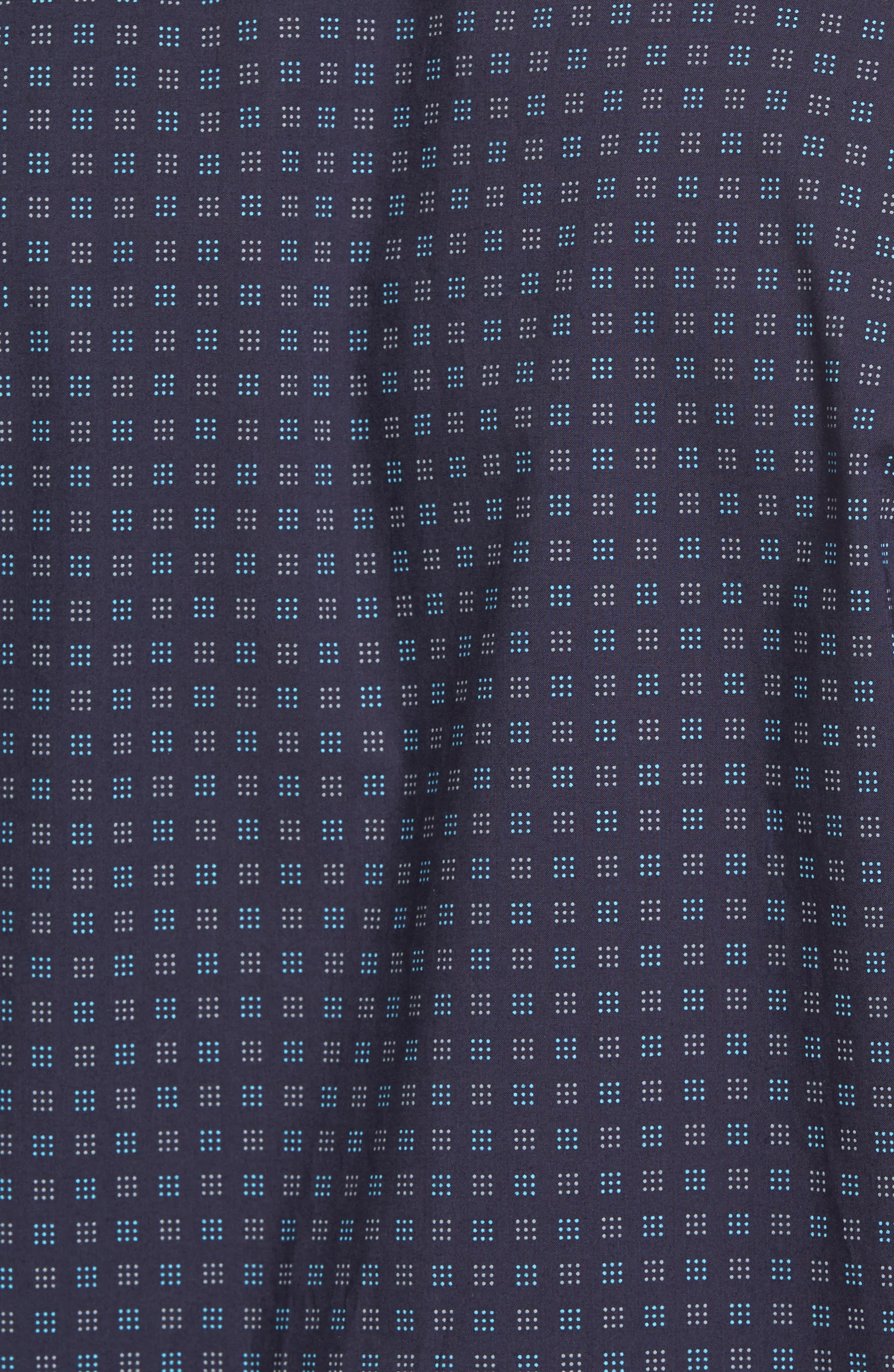 Tennant Slim Fit Dot Print Sport Shirt,                             Alternate thumbnail 5, color,                             Navy