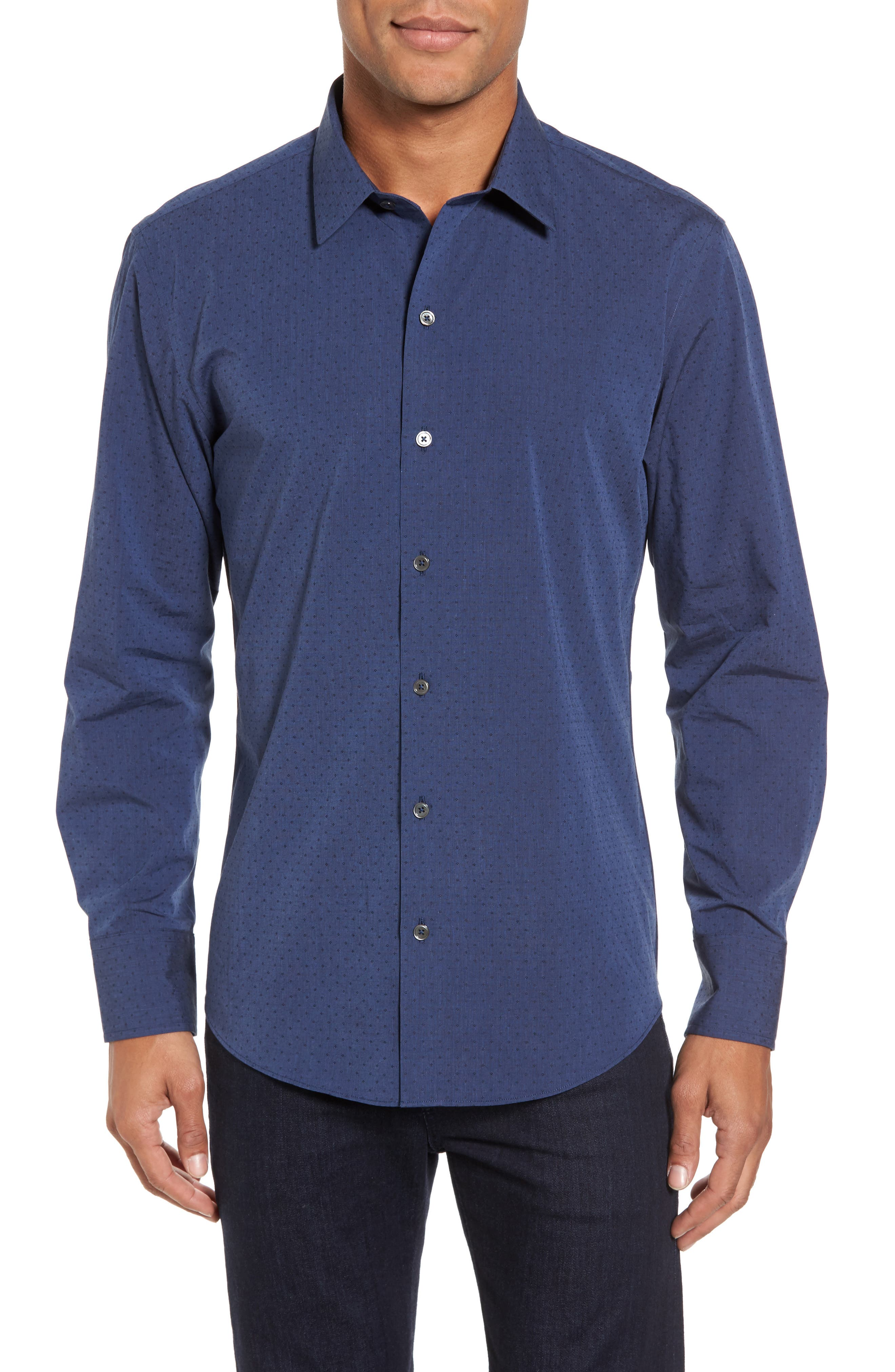Colly Slim Fit Print Sport Shirt,                         Main,                         color, Dark Blue