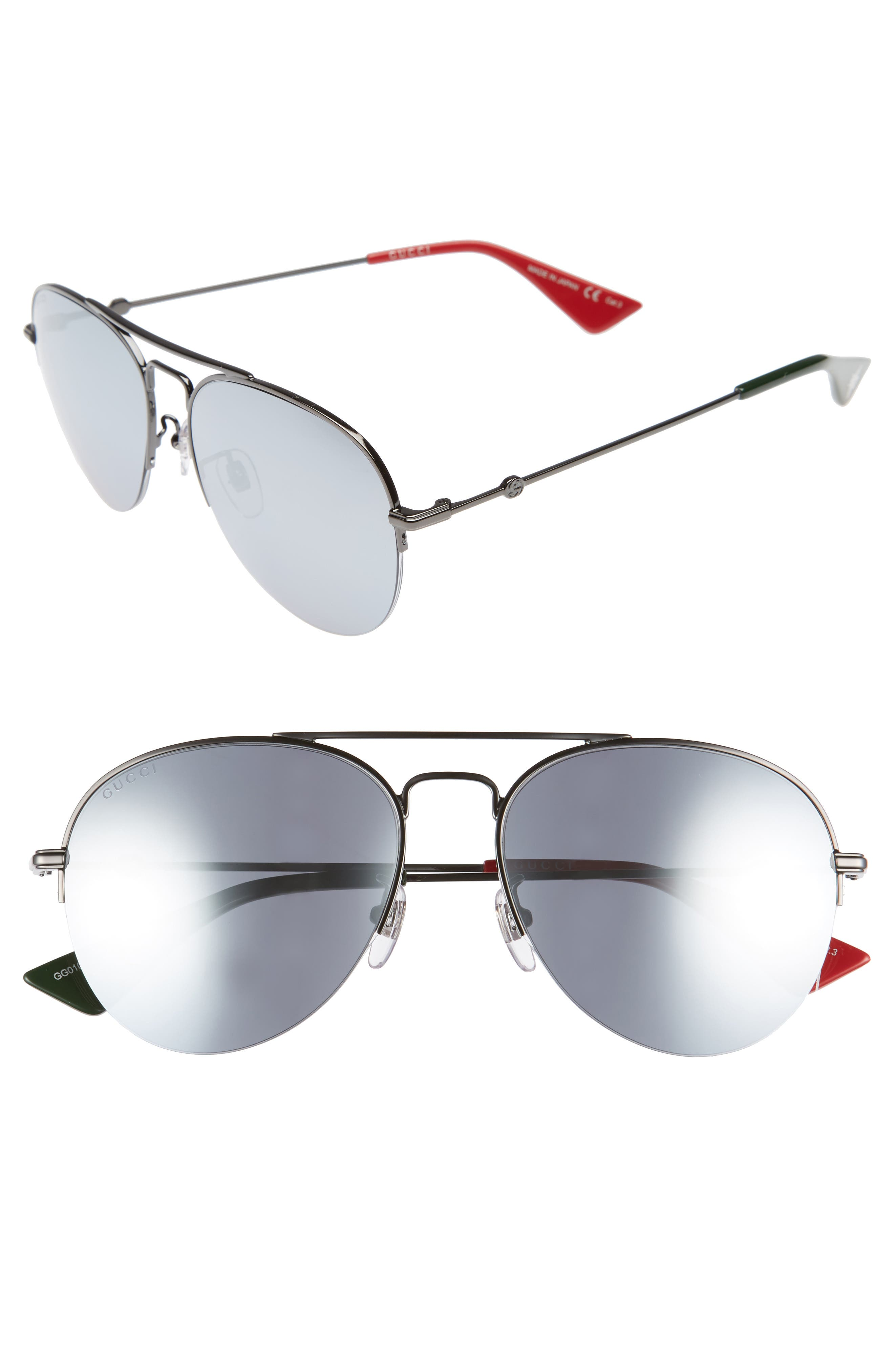 56mm Aviator Sunglasses,                         Main,                         color, Ruthenium/ Silver