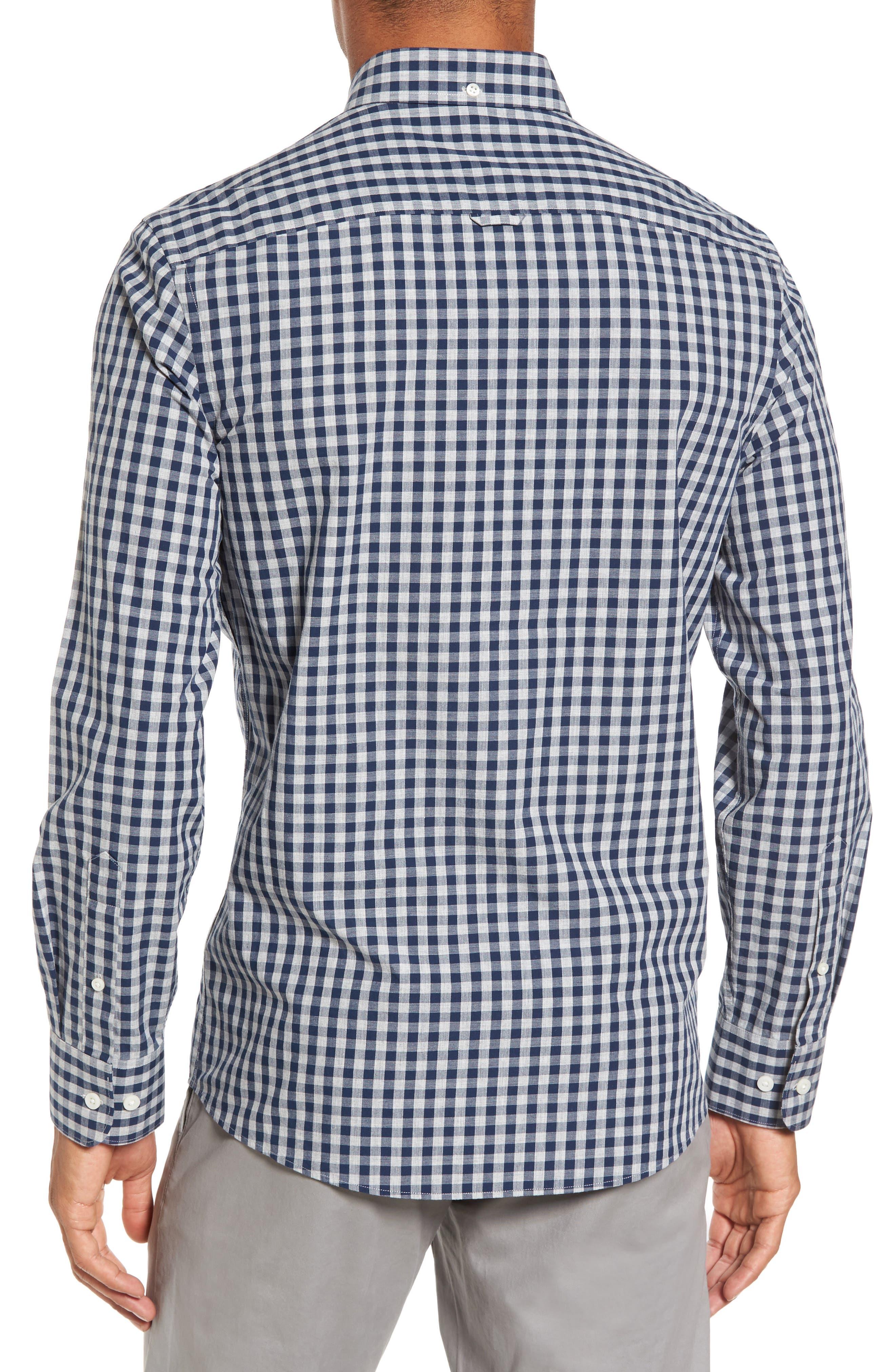 Spade Trim Fit Gingham Check Sport Shirt,                             Alternate thumbnail 3, color,                             Grey Shade Navy Gingham