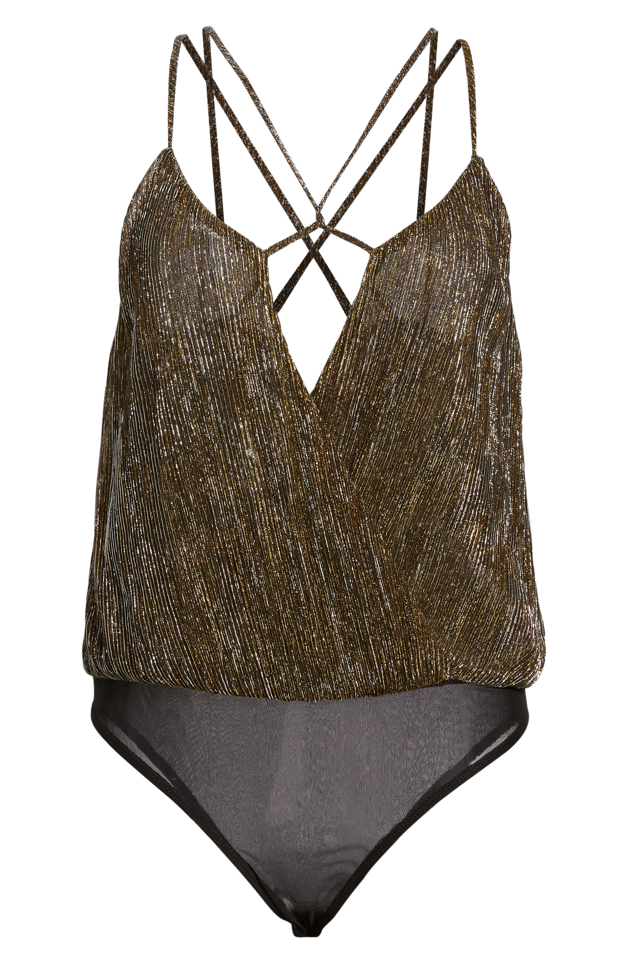 Strappy Metallic Bodysuit,                             Alternate thumbnail 6, color,                             Gold