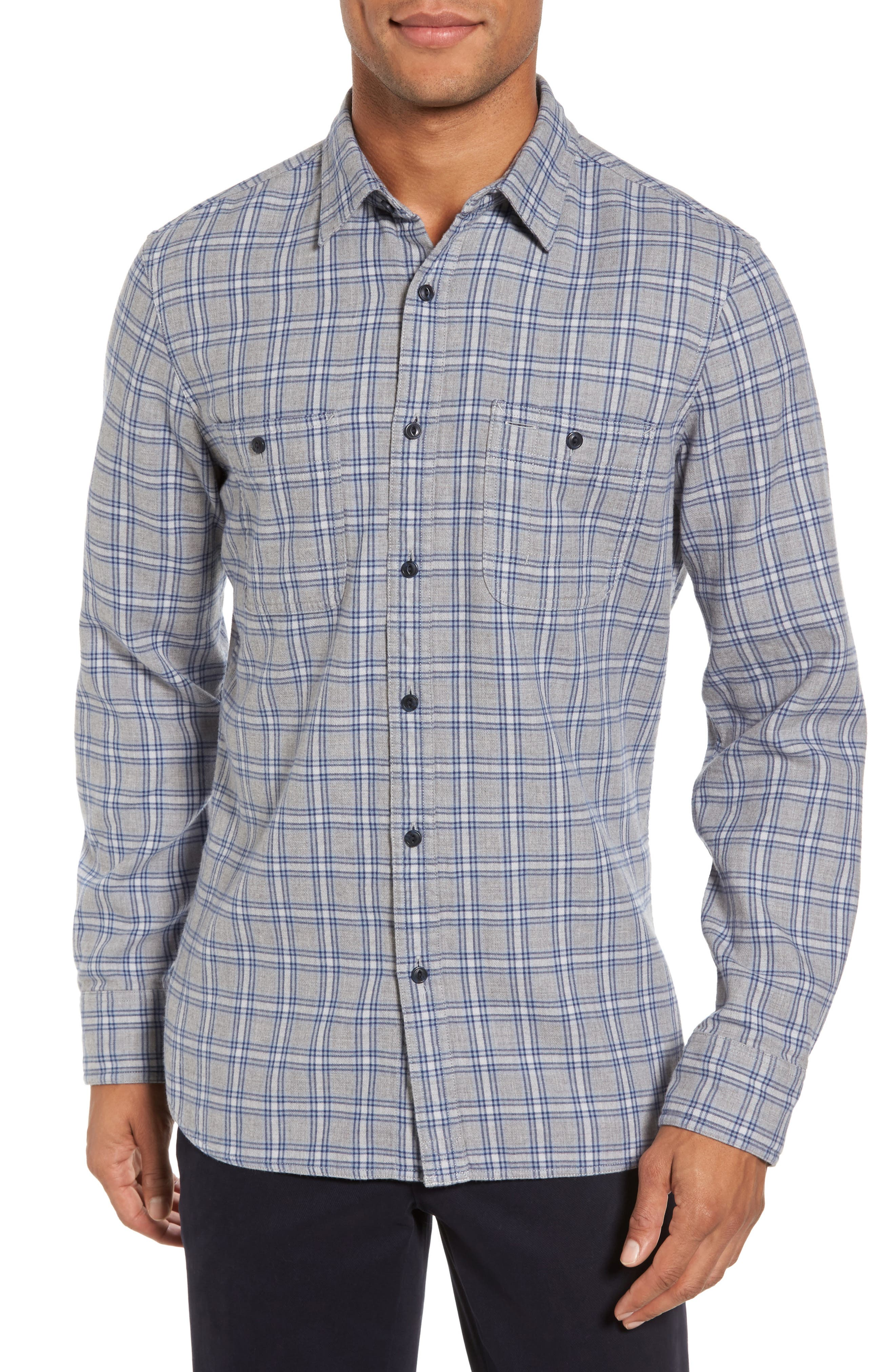 Workwear Duofold Check Sport Shirt,                         Main,                         color, Navy Iris Grey Plaid Duofold