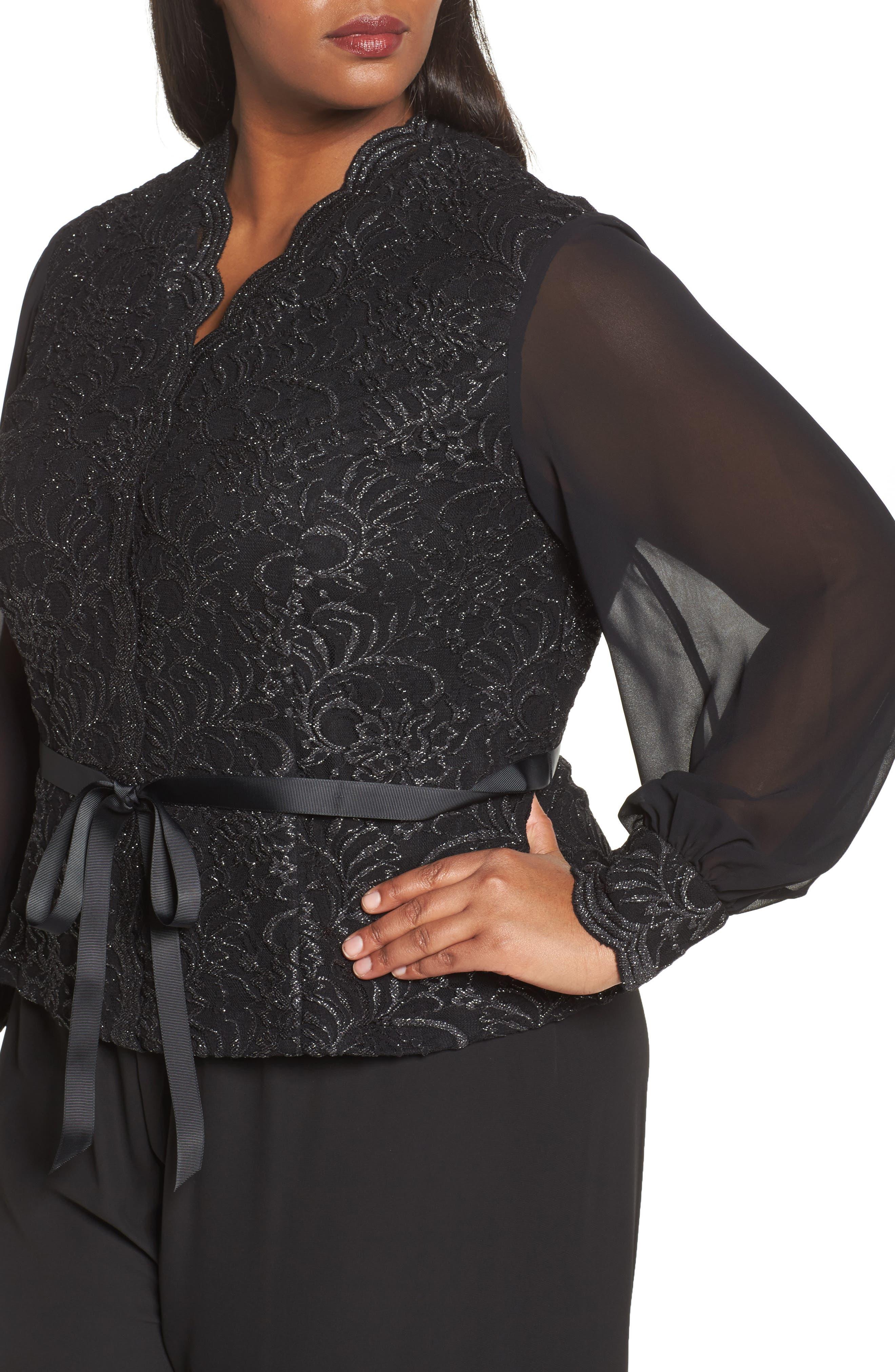 Alternate Image 4  - Alex Evenings Sequin Lace Blouse with Tie Waist (Plus Size)