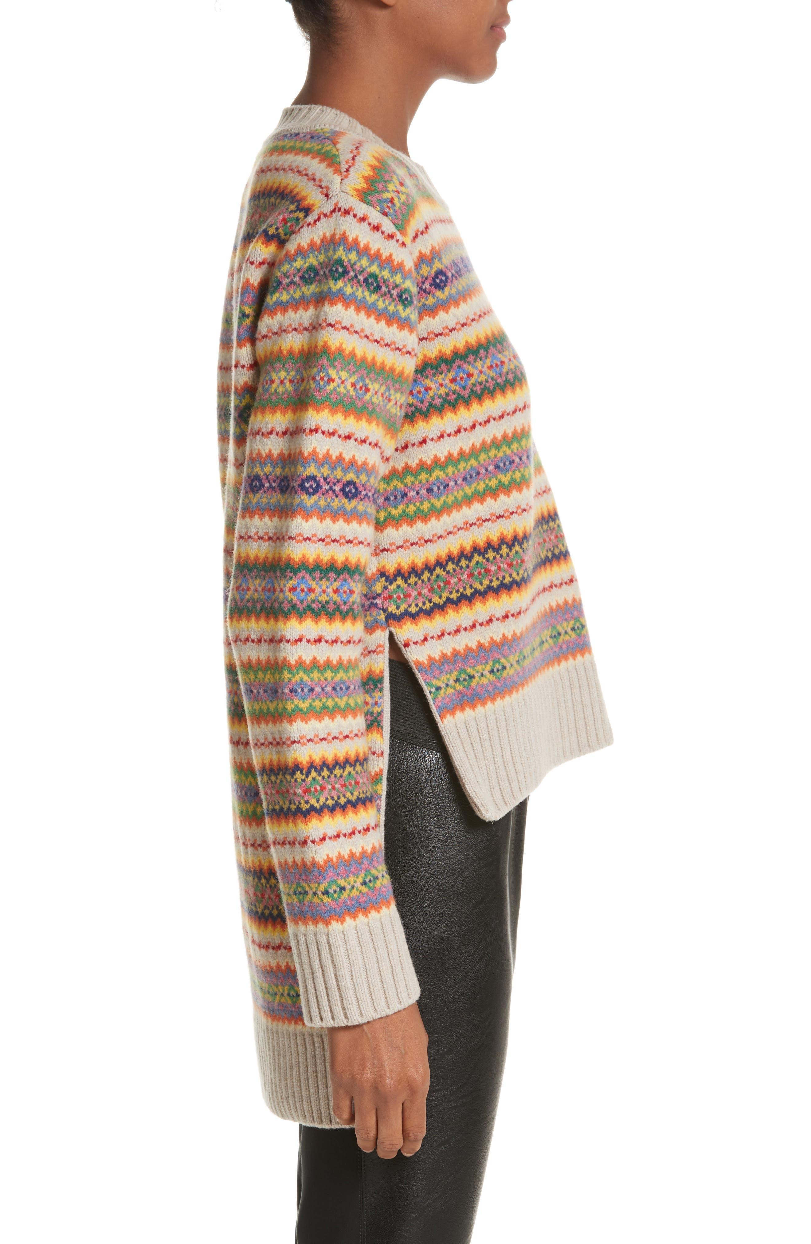Shetland Wool Fair Isle Sweater,                             Alternate thumbnail 3, color,                             Multicolor