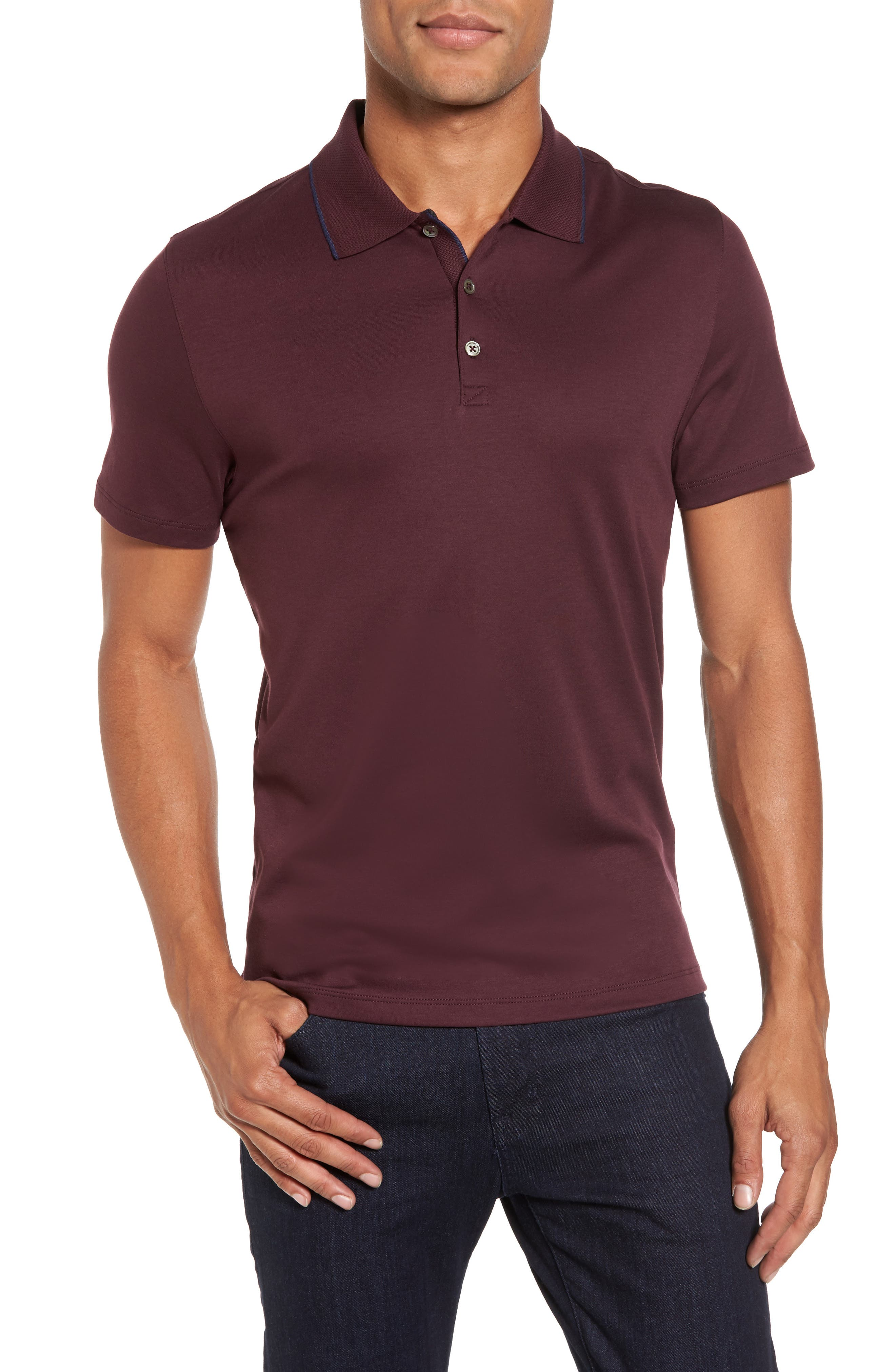 Grindstone Slim Fit Polo,                             Main thumbnail 1, color,                             Burgundy