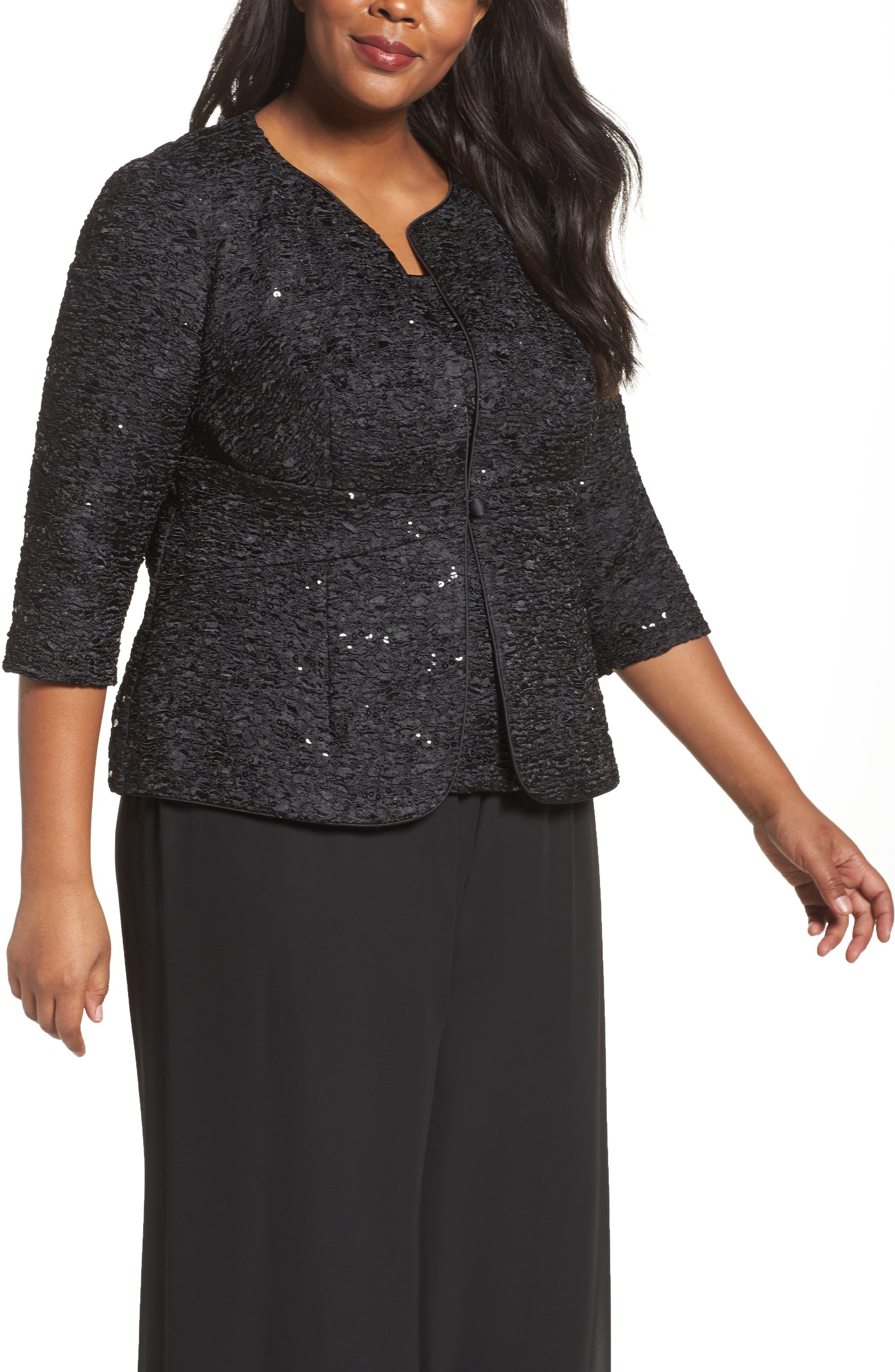 Main Image - Alex Evenings Sequin Jacket & Camisole Twinset (Plus Size)