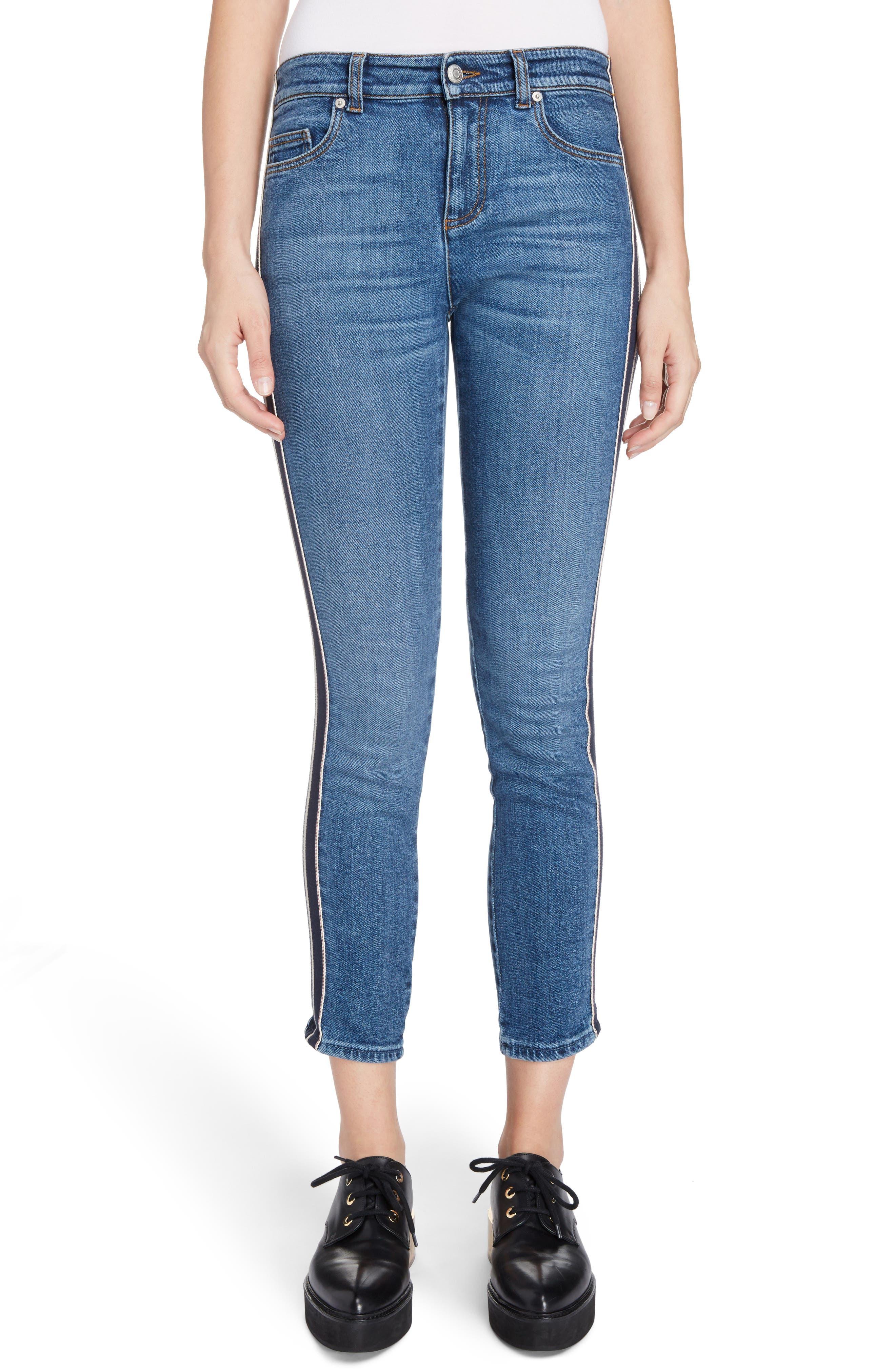 Alexander McQueen Side Stripe Crop Skinny Jeans (Faded Blue)