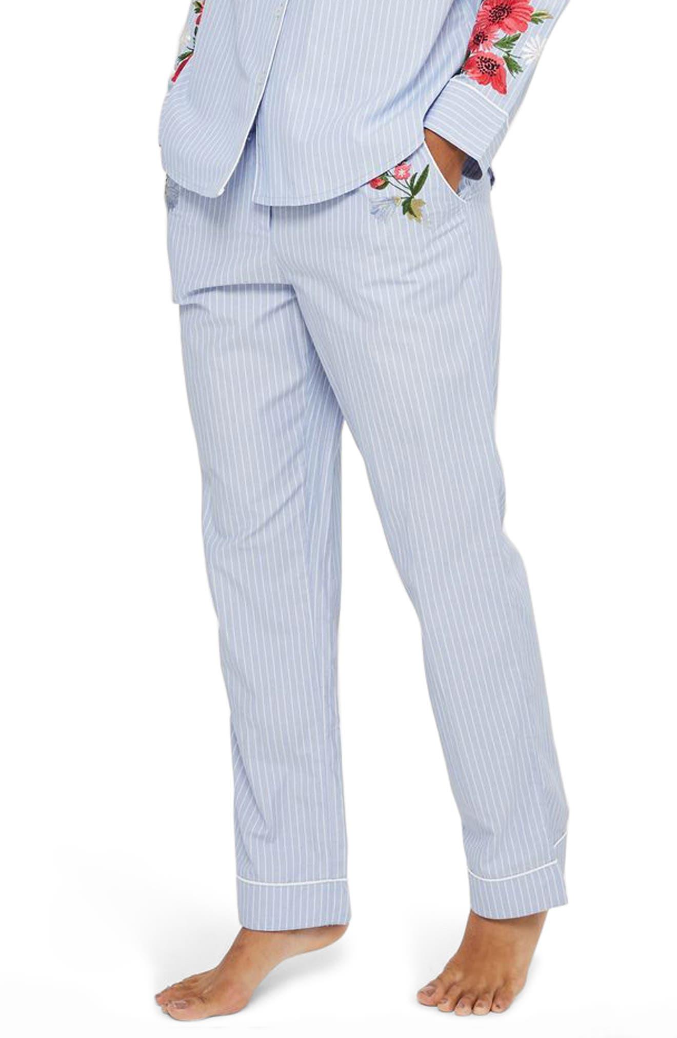 Floral Embroidered Stripe Pajama Pants,                             Main thumbnail 1, color,                             Blue Multi