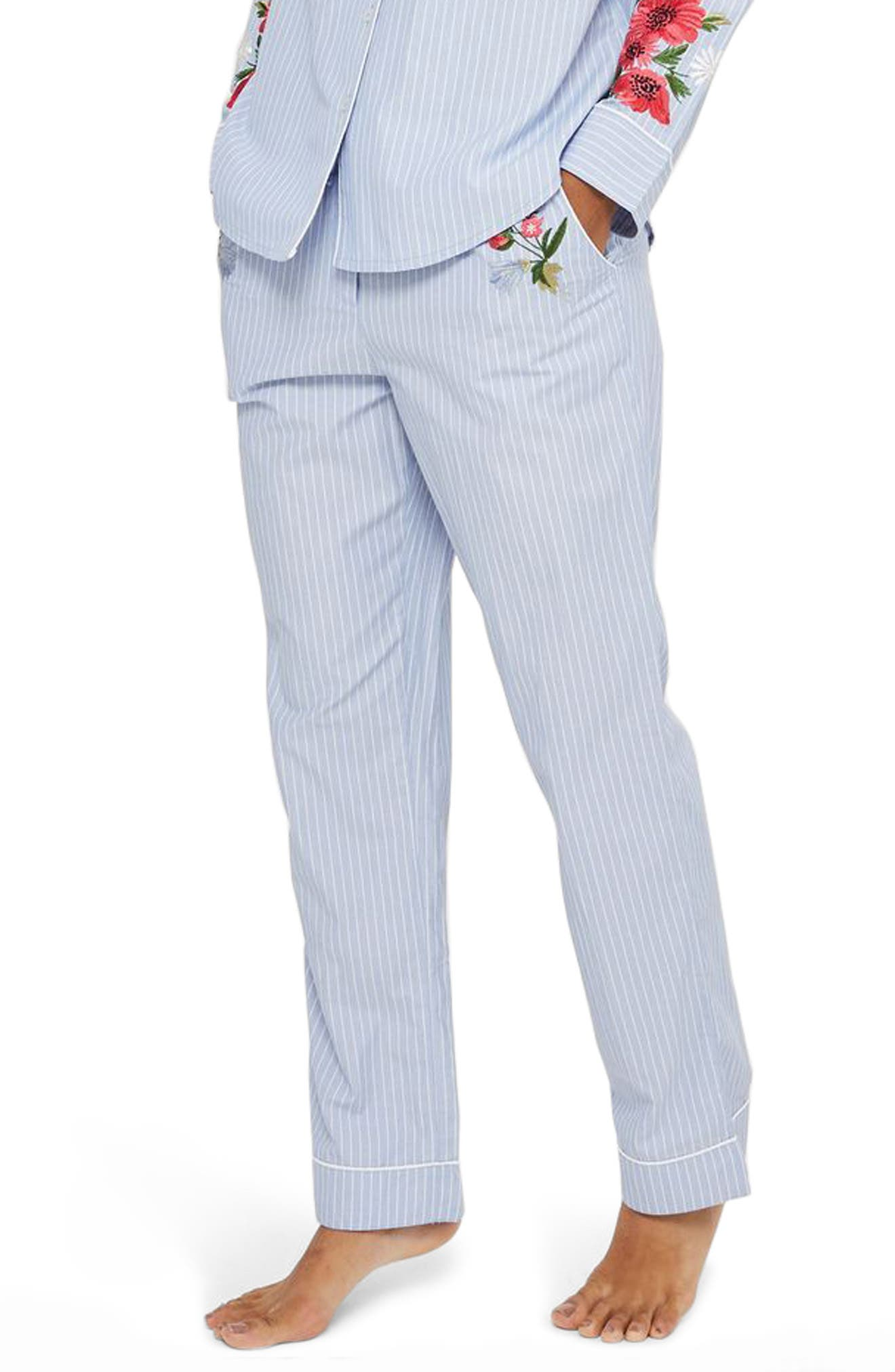 Main Image - Topshop Floral Embroidered Stripe Pajama Pants