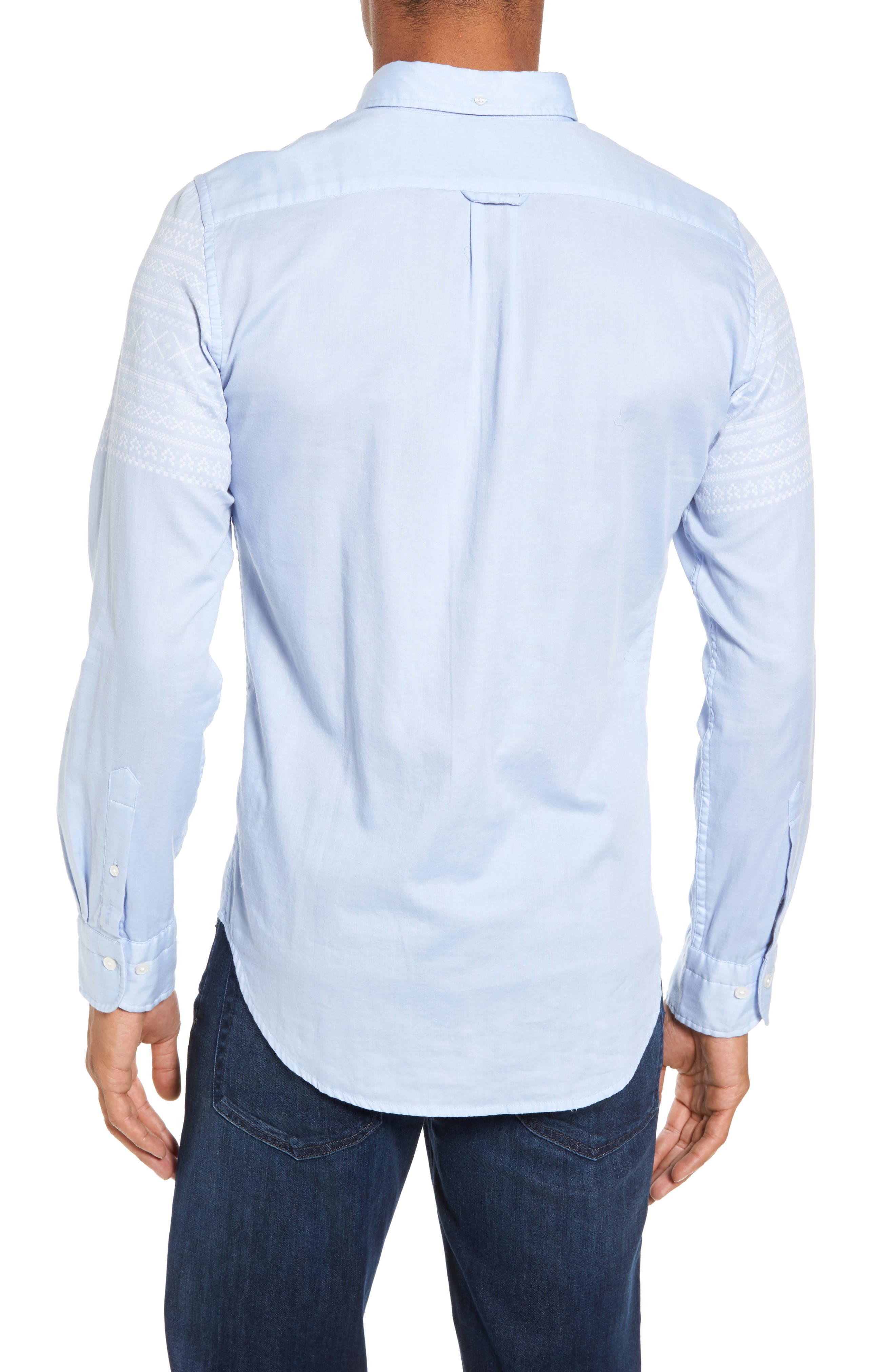 02 Extra Slim Fit Fair Isle Print Sport Shirt,                             Alternate thumbnail 2, color,                             Hamptons Blue