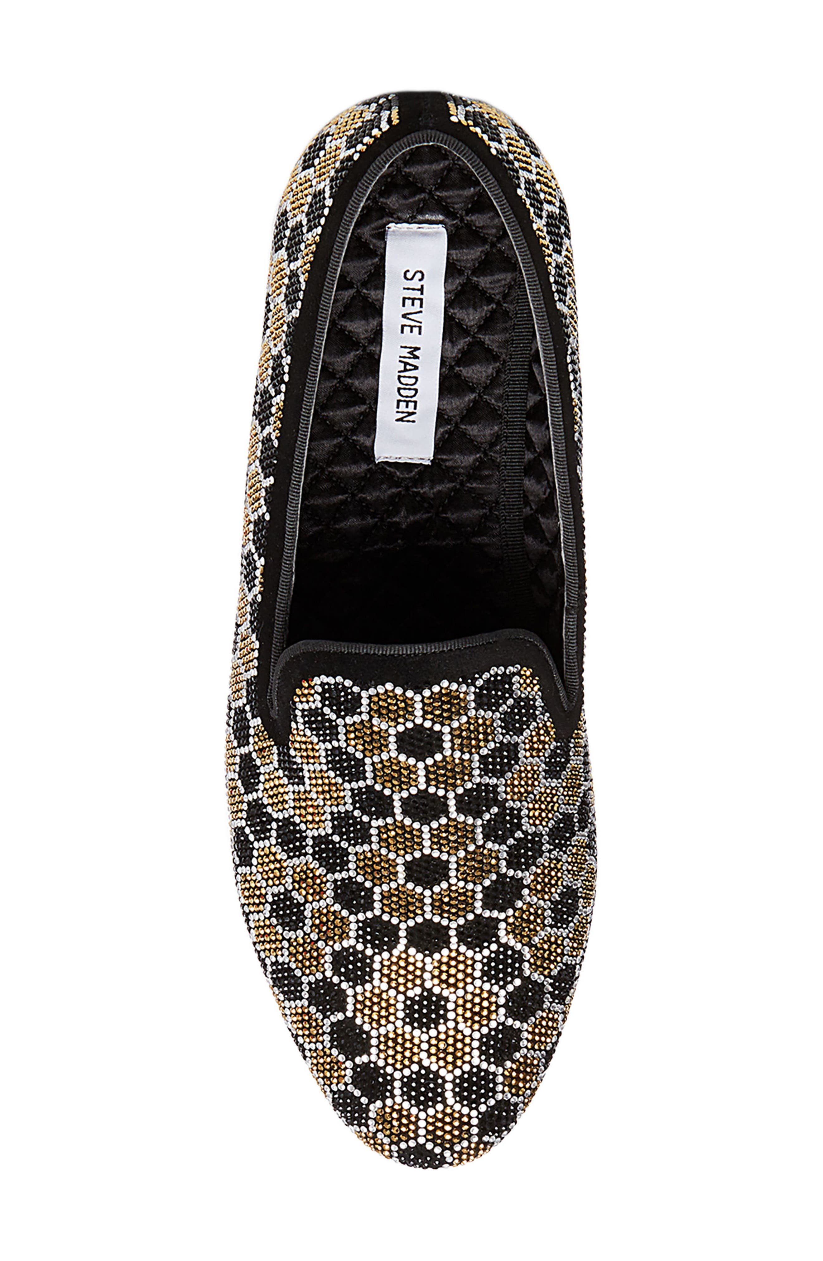 Caspian Studded Venetian Loafer,                             Alternate thumbnail 5, color,                             Black/ Gold