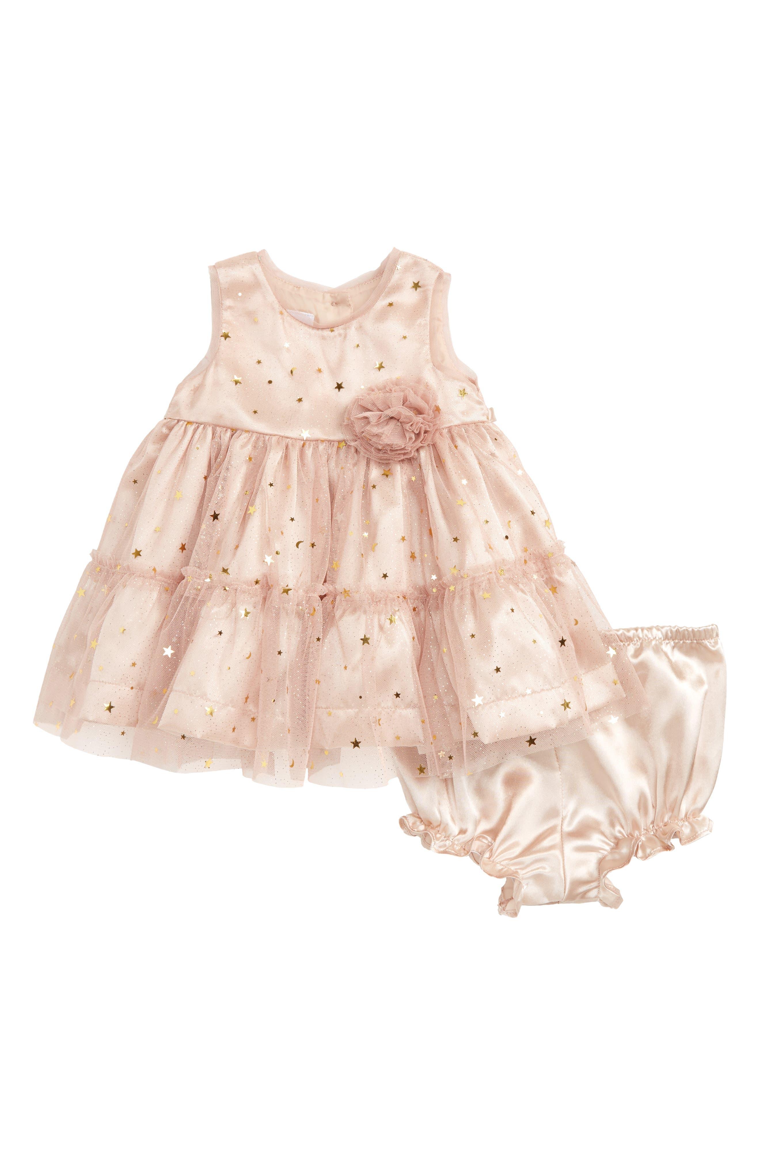 Alternate Image 1 Selected - Frais Gold Star Dress (Baby Girls)