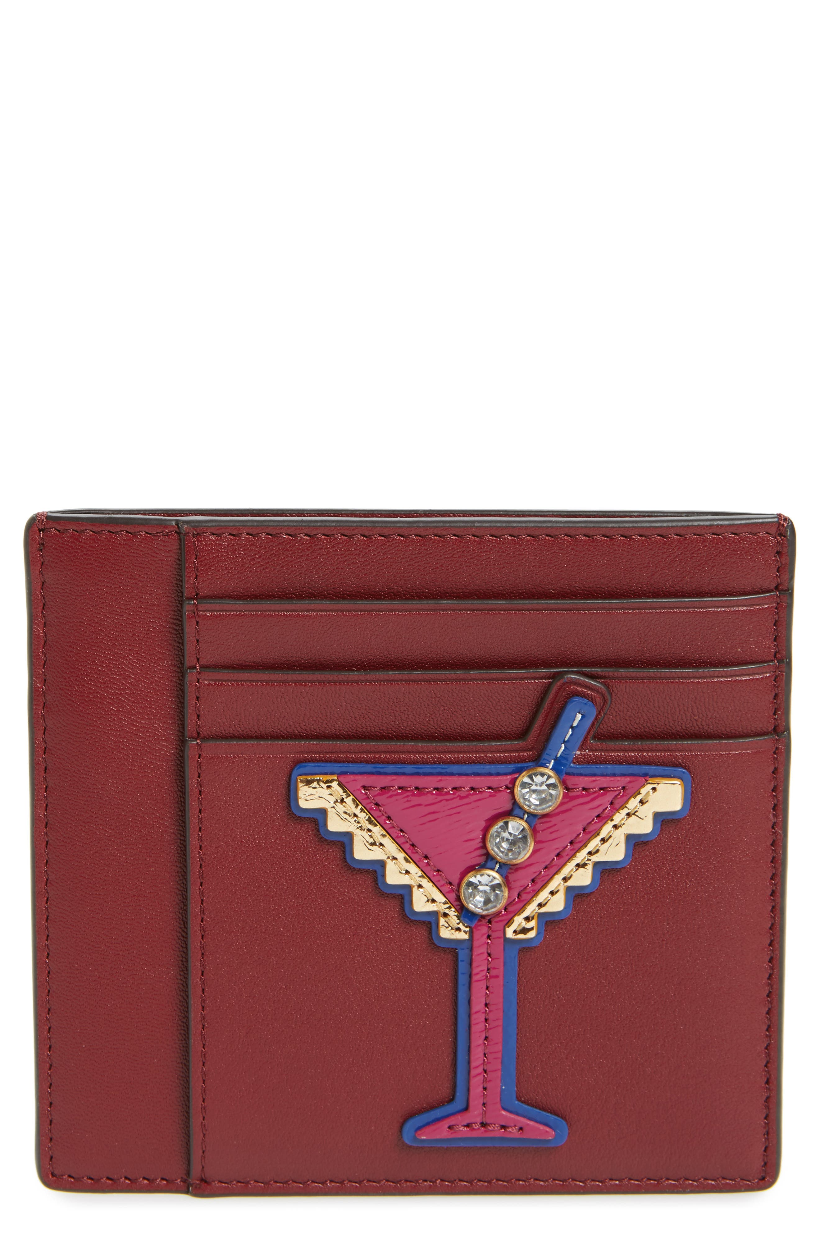 Martini Appliqué Leather Card Case,                         Main,                         color, Imperial Garnet