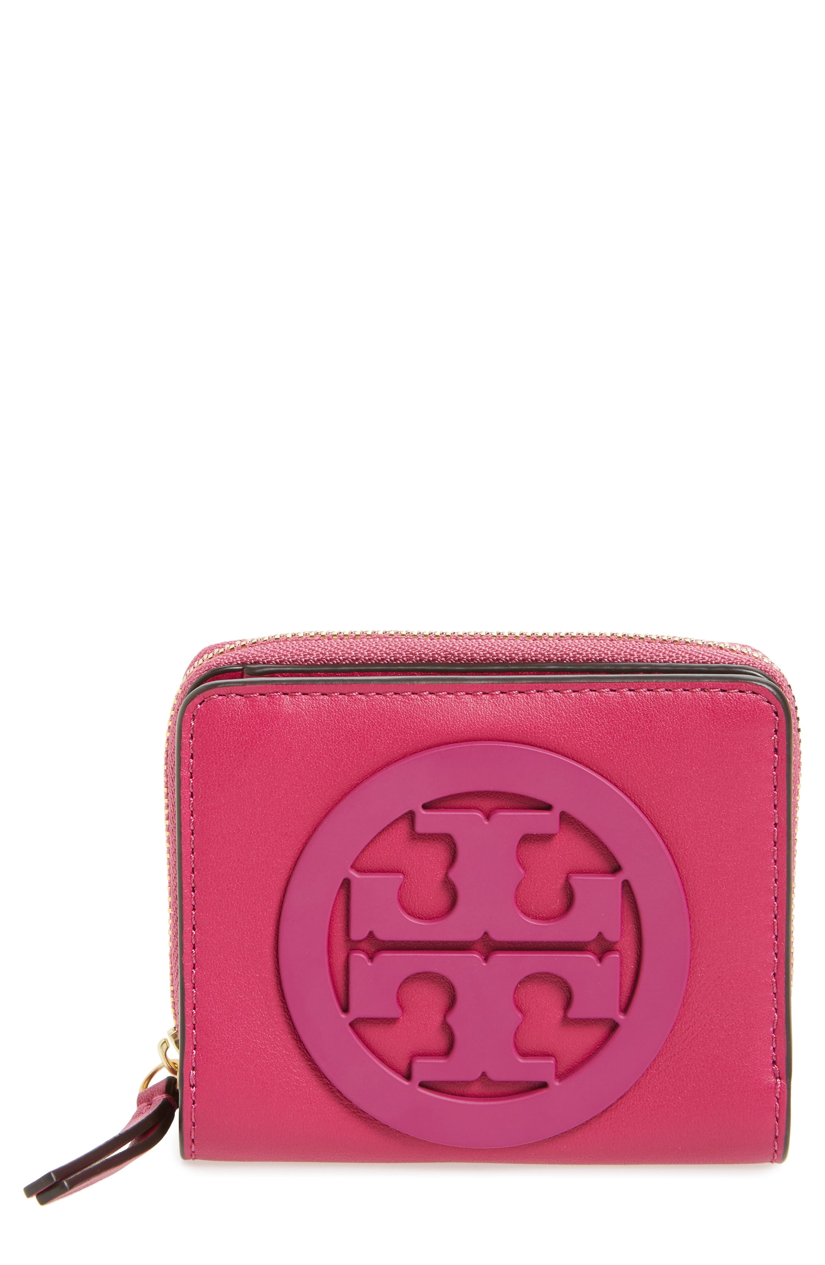 Mini Charlie Leather Wallet,                         Main,                         color, Party Fuchsia