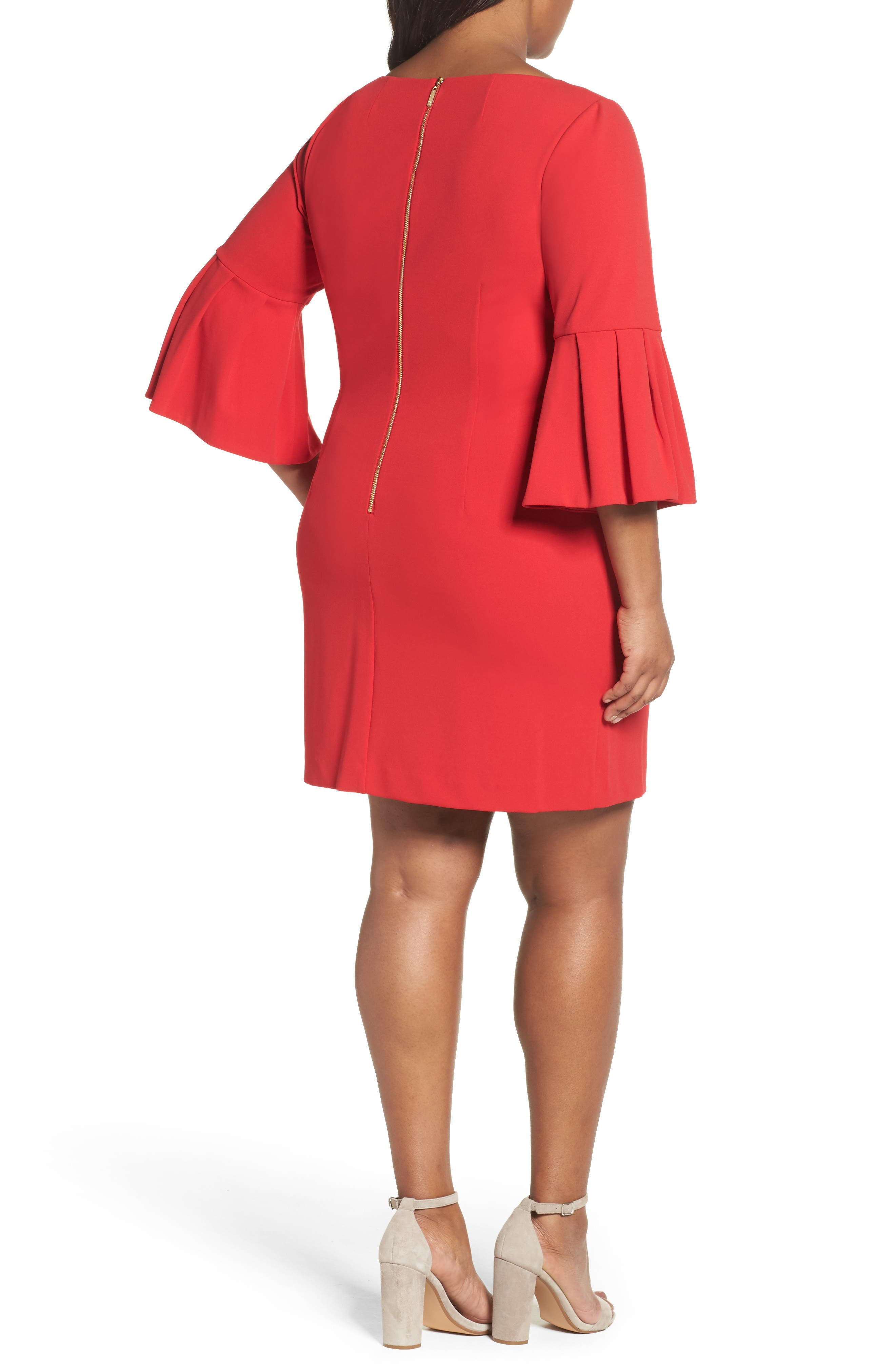 Bell Sleeve Shift Dress,                             Alternate thumbnail 2, color,                             Red