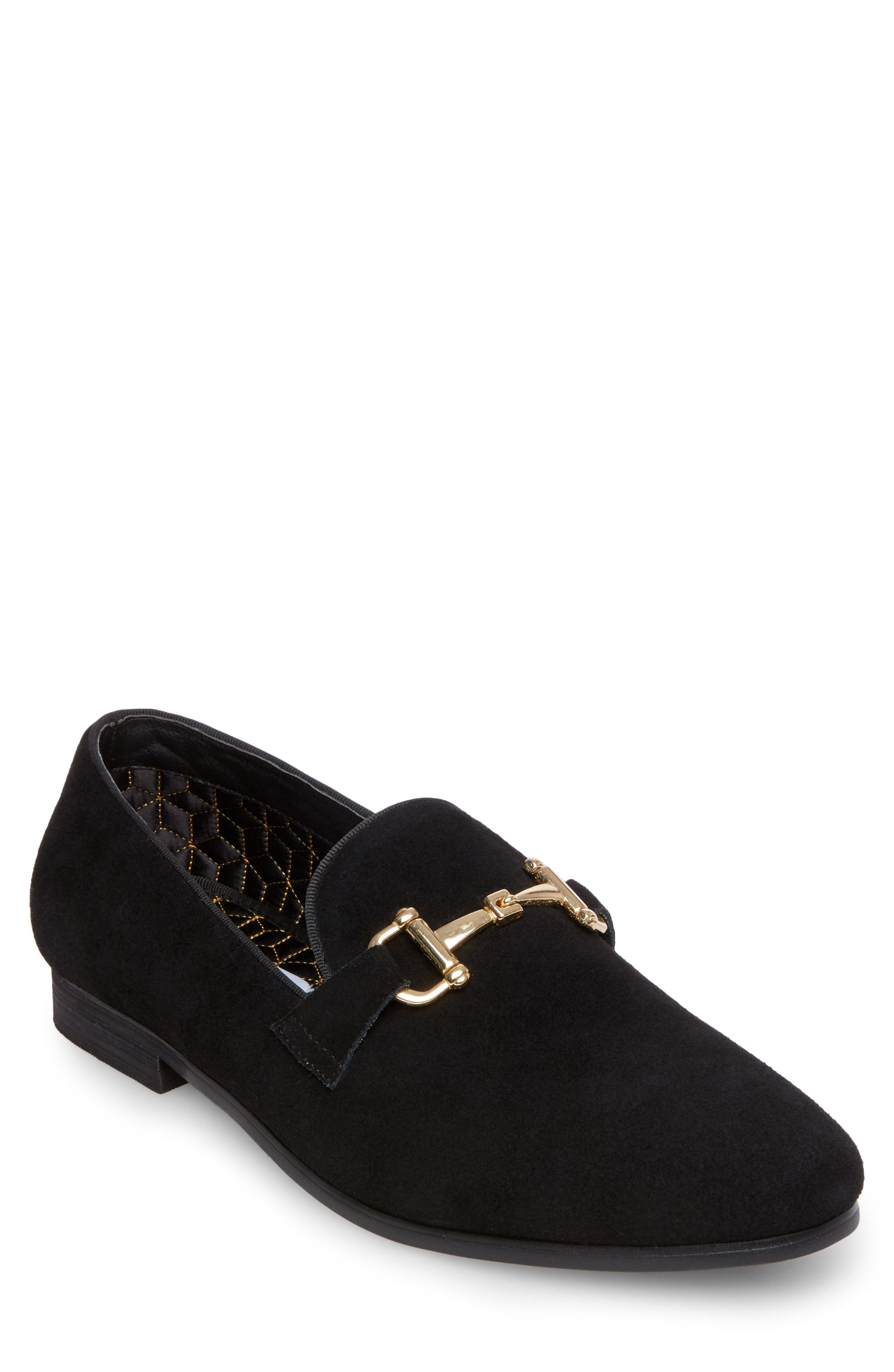 Coinage Bit Loafer, Main, color, Black Suede