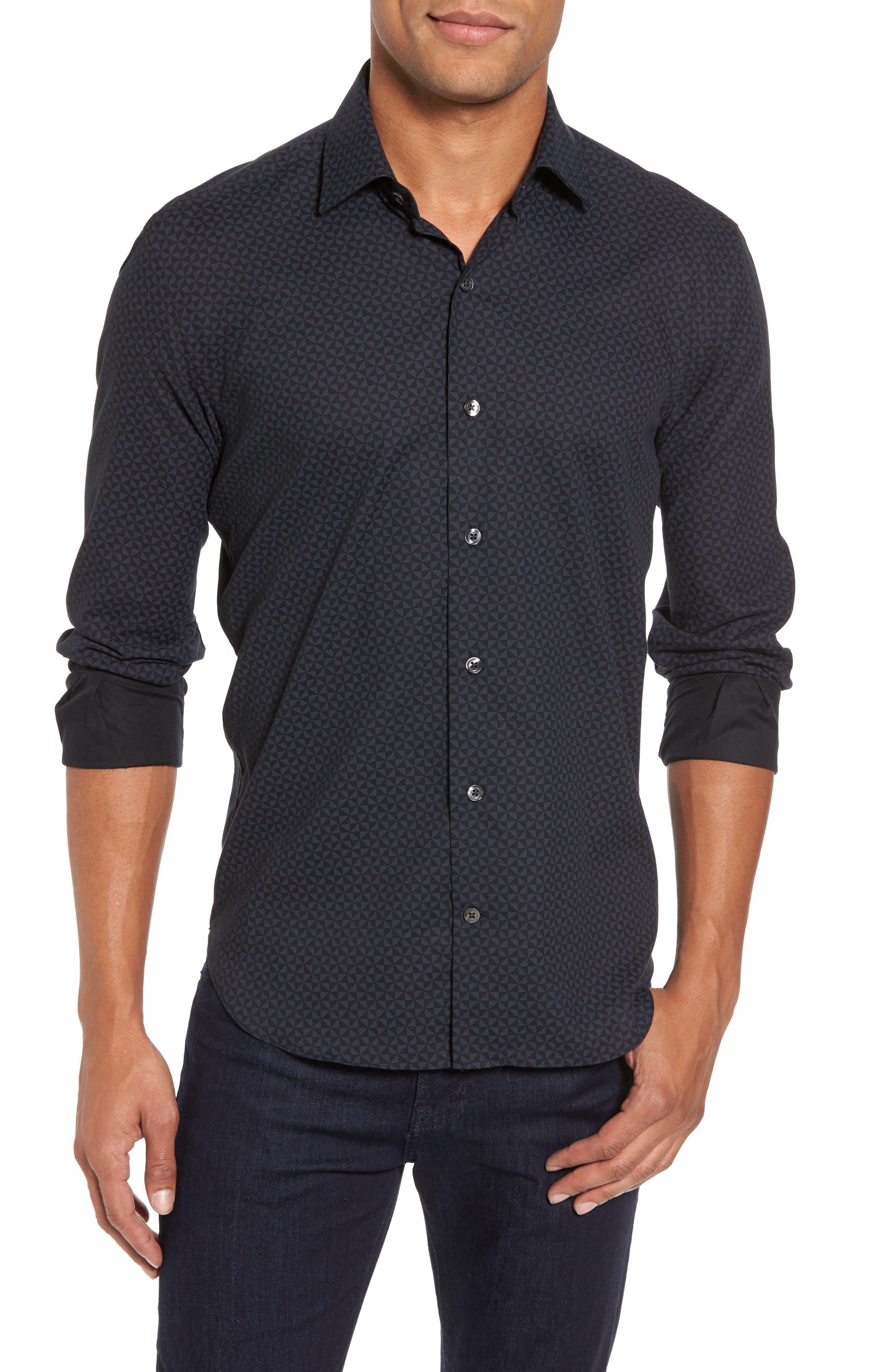 Slim Fit Geo Print Twill Sport Shirt,                             Main thumbnail 1, color,                             Black
