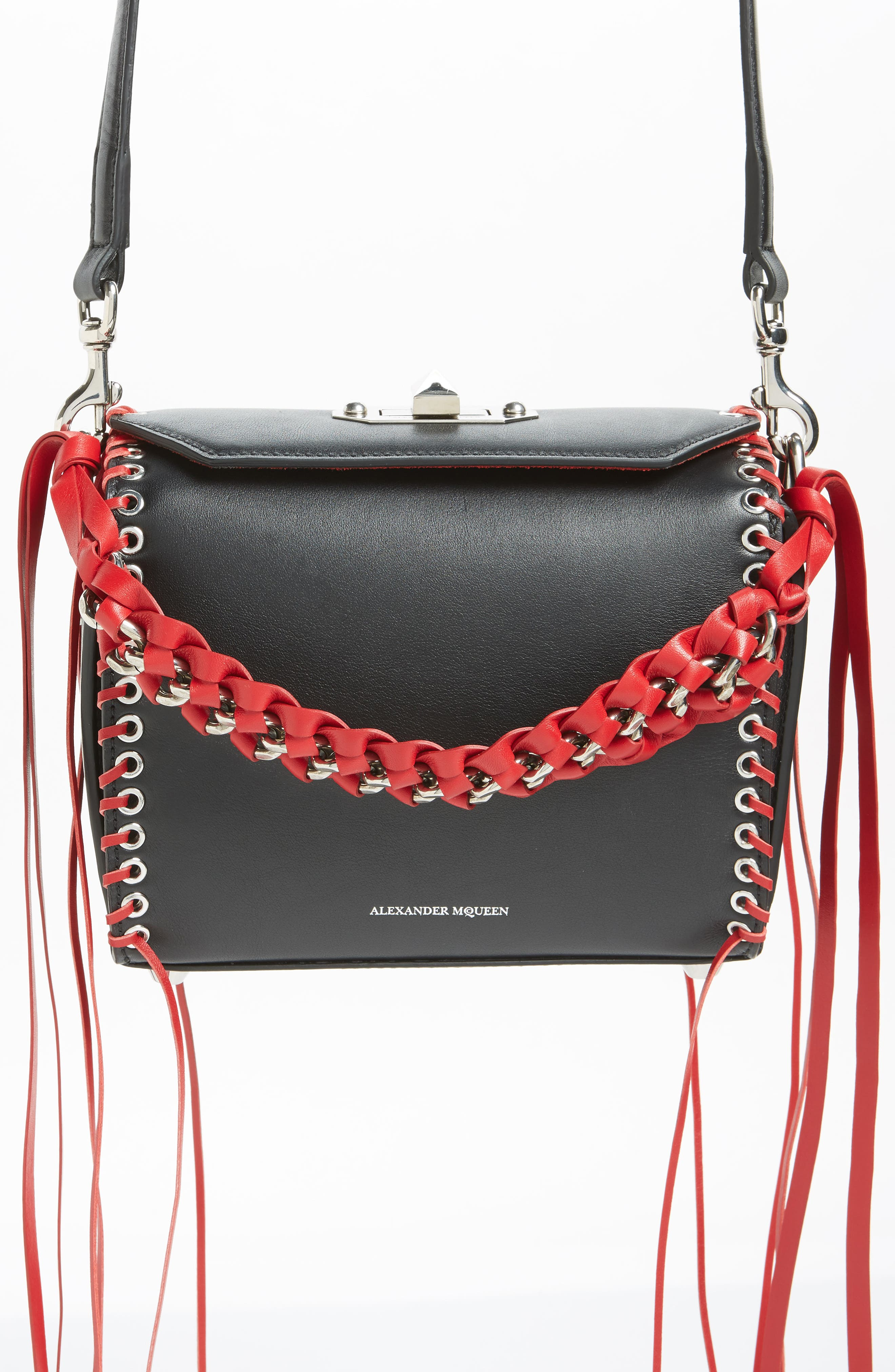 Box Bag 19 Calfskin Bag,                             Alternate thumbnail 6, color,                             Black/ Red