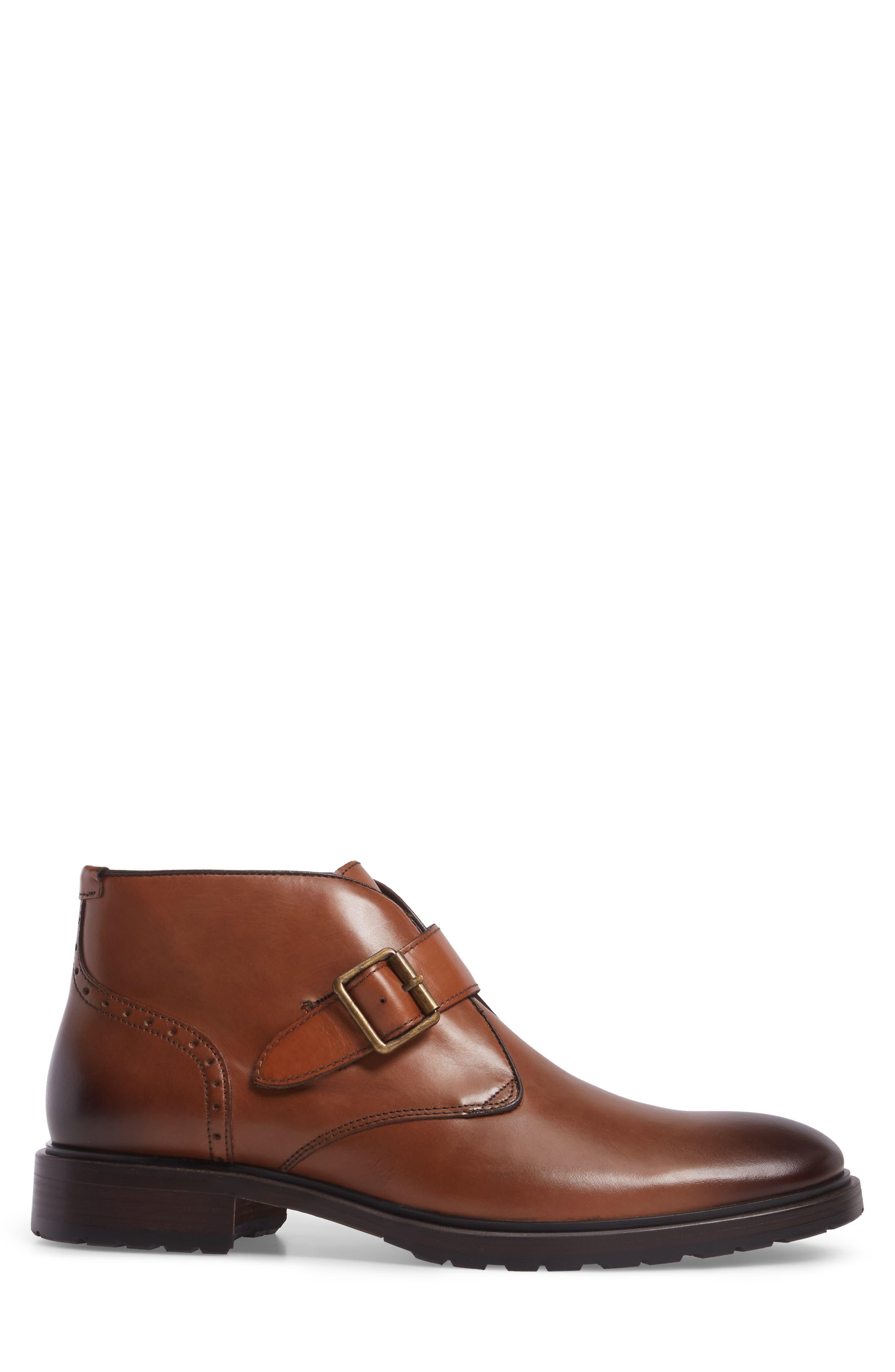 Myles Monk Strap Boot,                             Alternate thumbnail 3, color,                             Cognac Leather