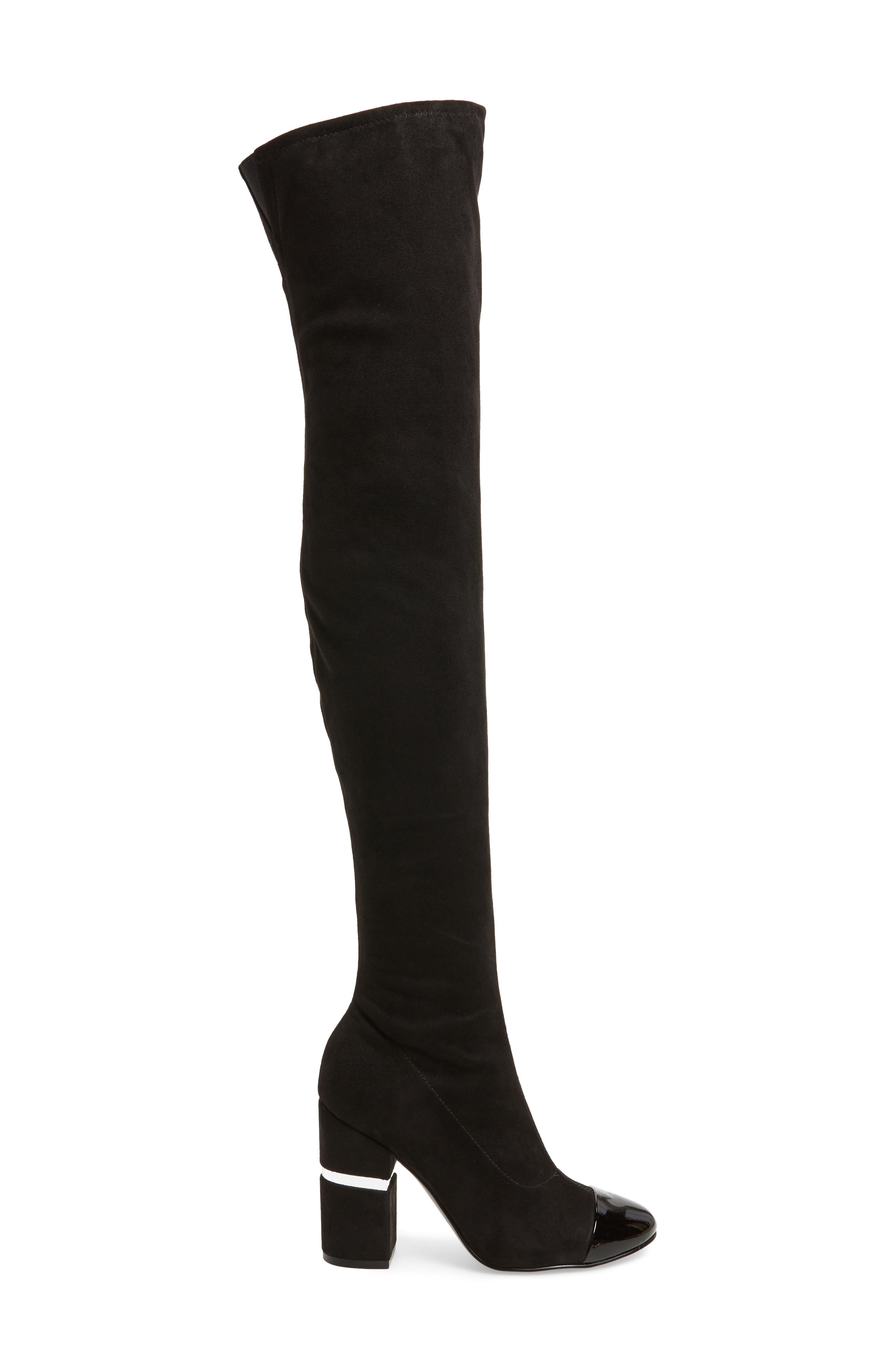 Petel Over the Knee Boot,                             Alternate thumbnail 3, color,                             Black Faux Suede
