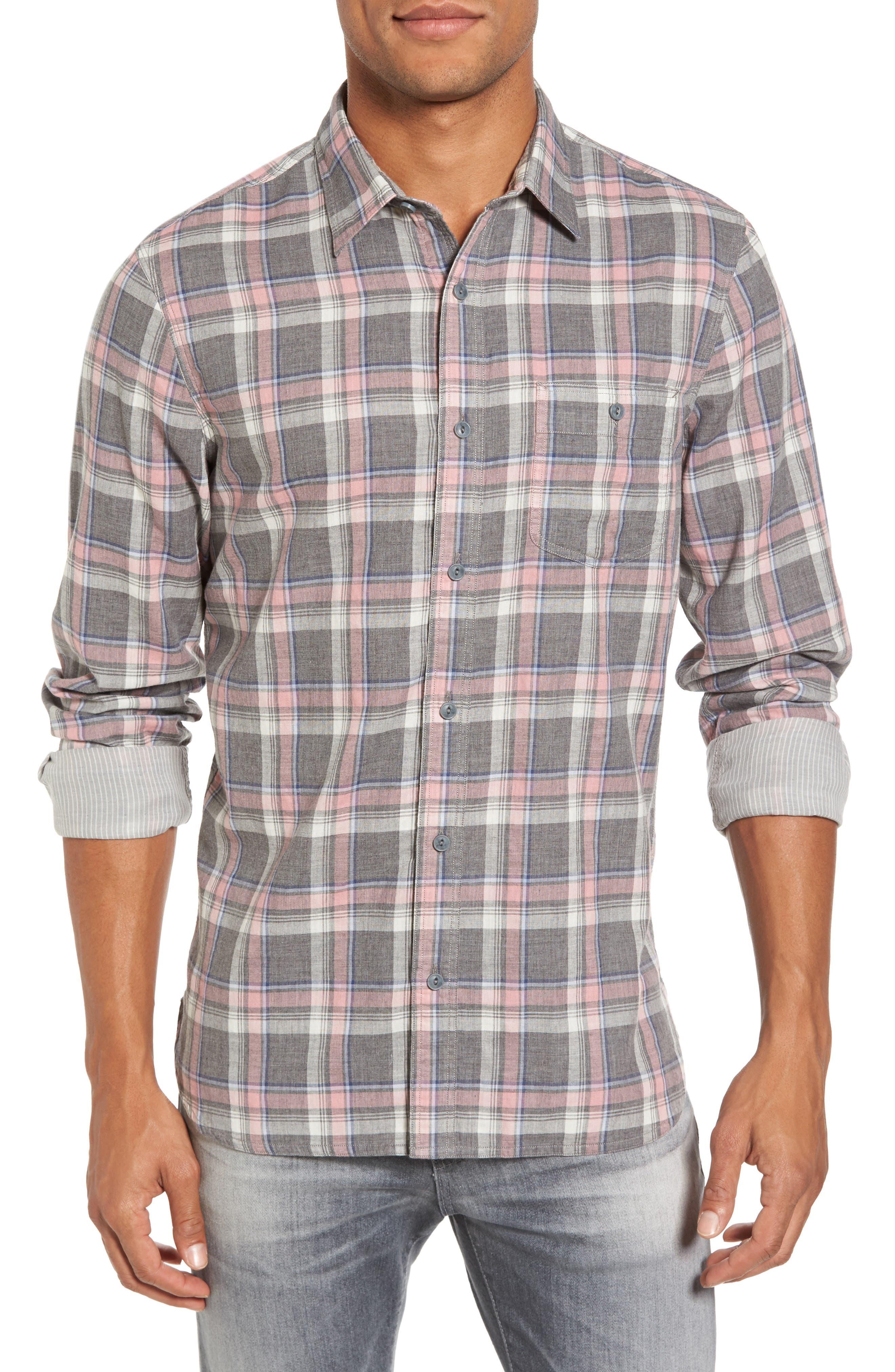 Trim Fit Utility Duofold Sport Shirt,                             Main thumbnail 1, color,                             Grey Paloma Pink Plaid Duofold