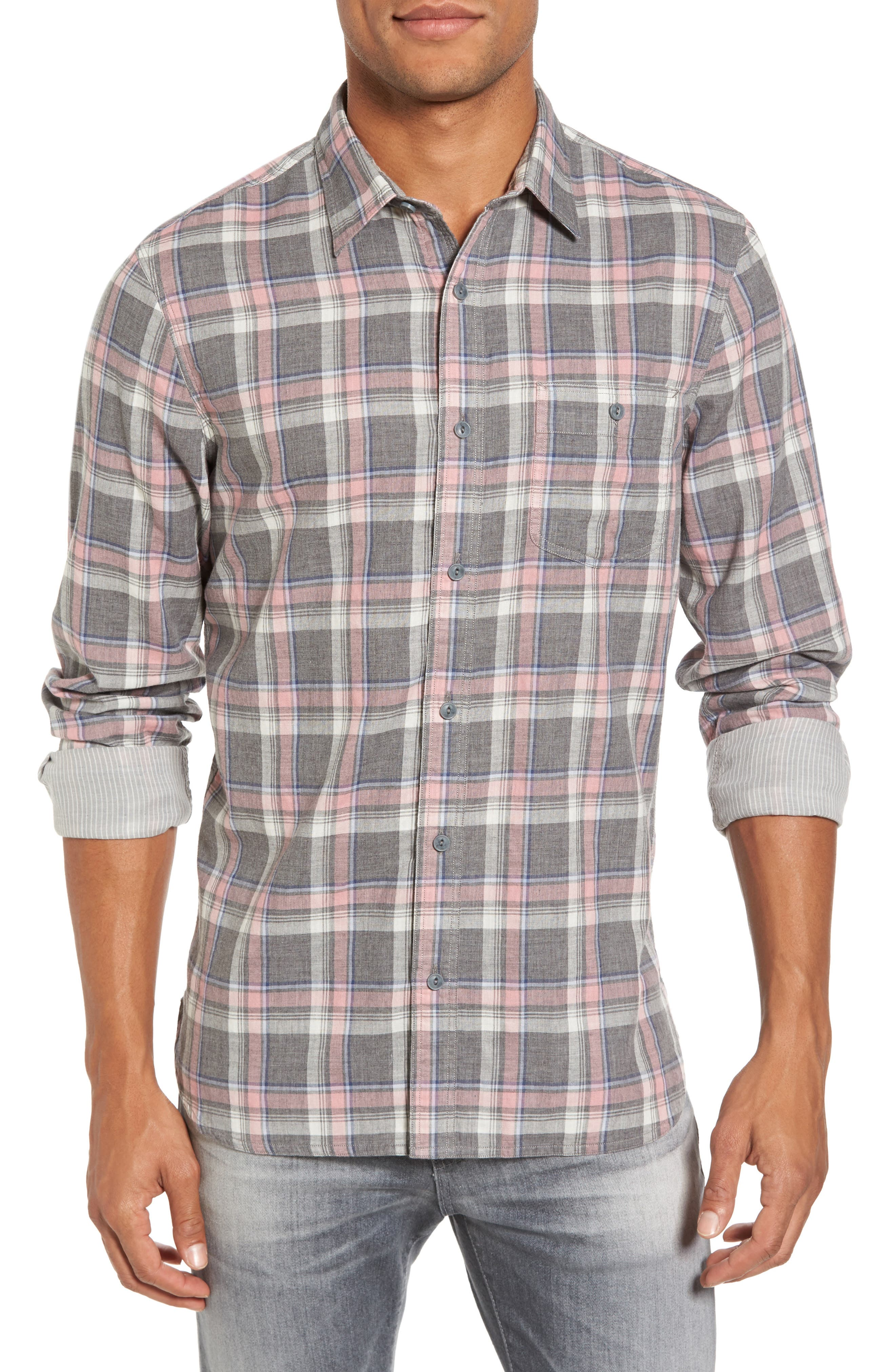 Trim Fit Utility Duofold Sport Shirt,                         Main,                         color, Grey Paloma Pink Plaid Duofold