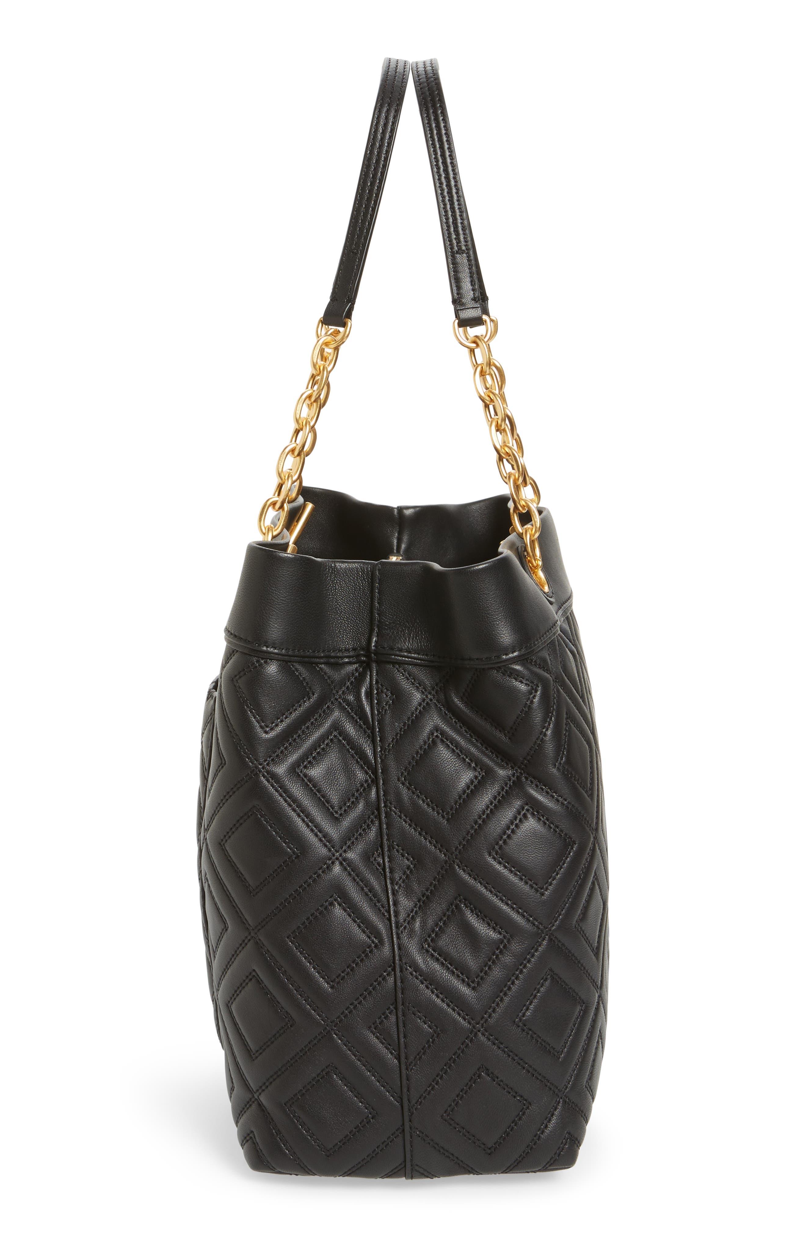Lousia Lambskin Leather Tote,                             Alternate thumbnail 4, color,                             Black