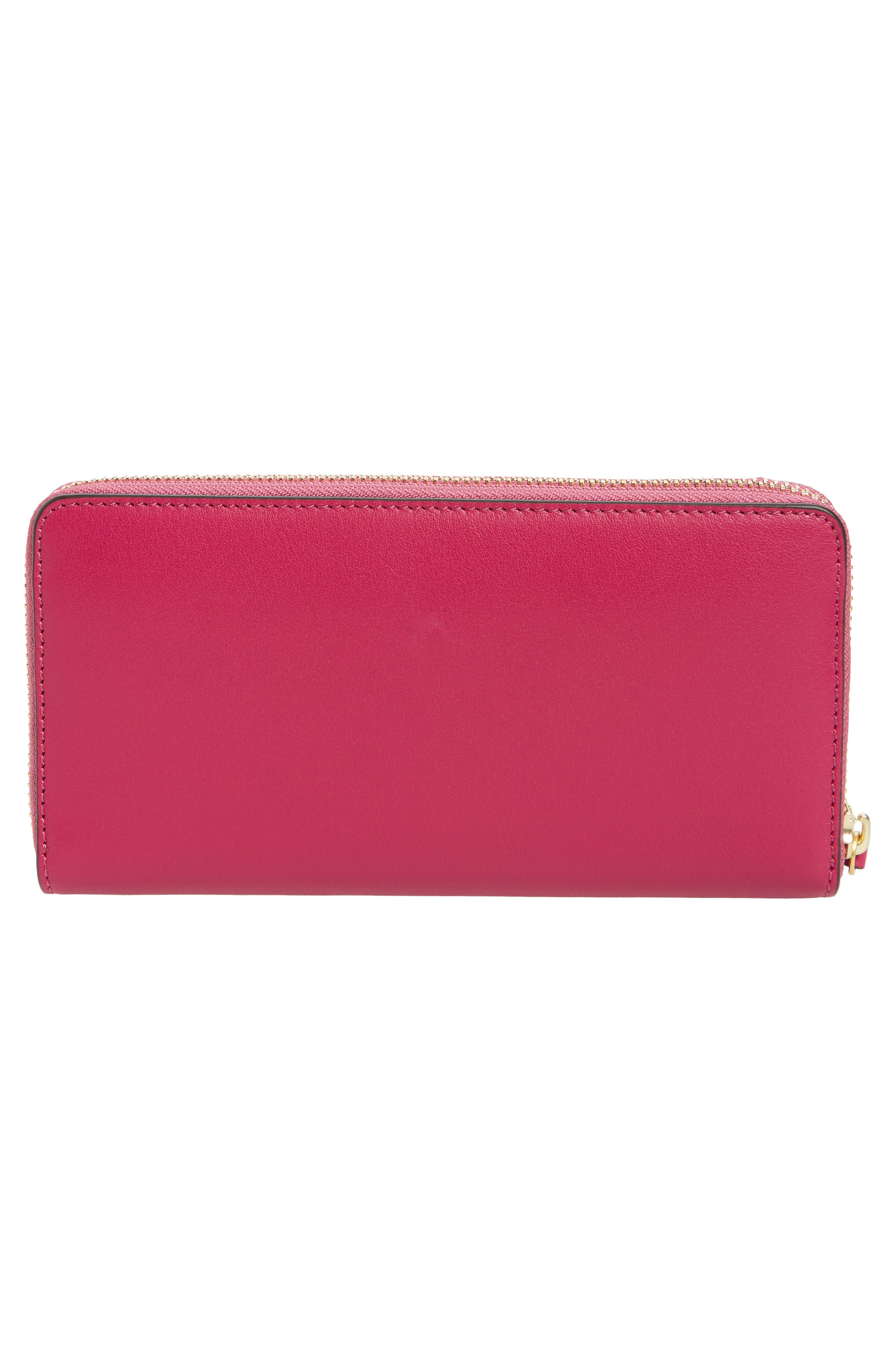Charlie Leather Continental Wallet,                             Alternate thumbnail 2, color,                             Party Fuchsia