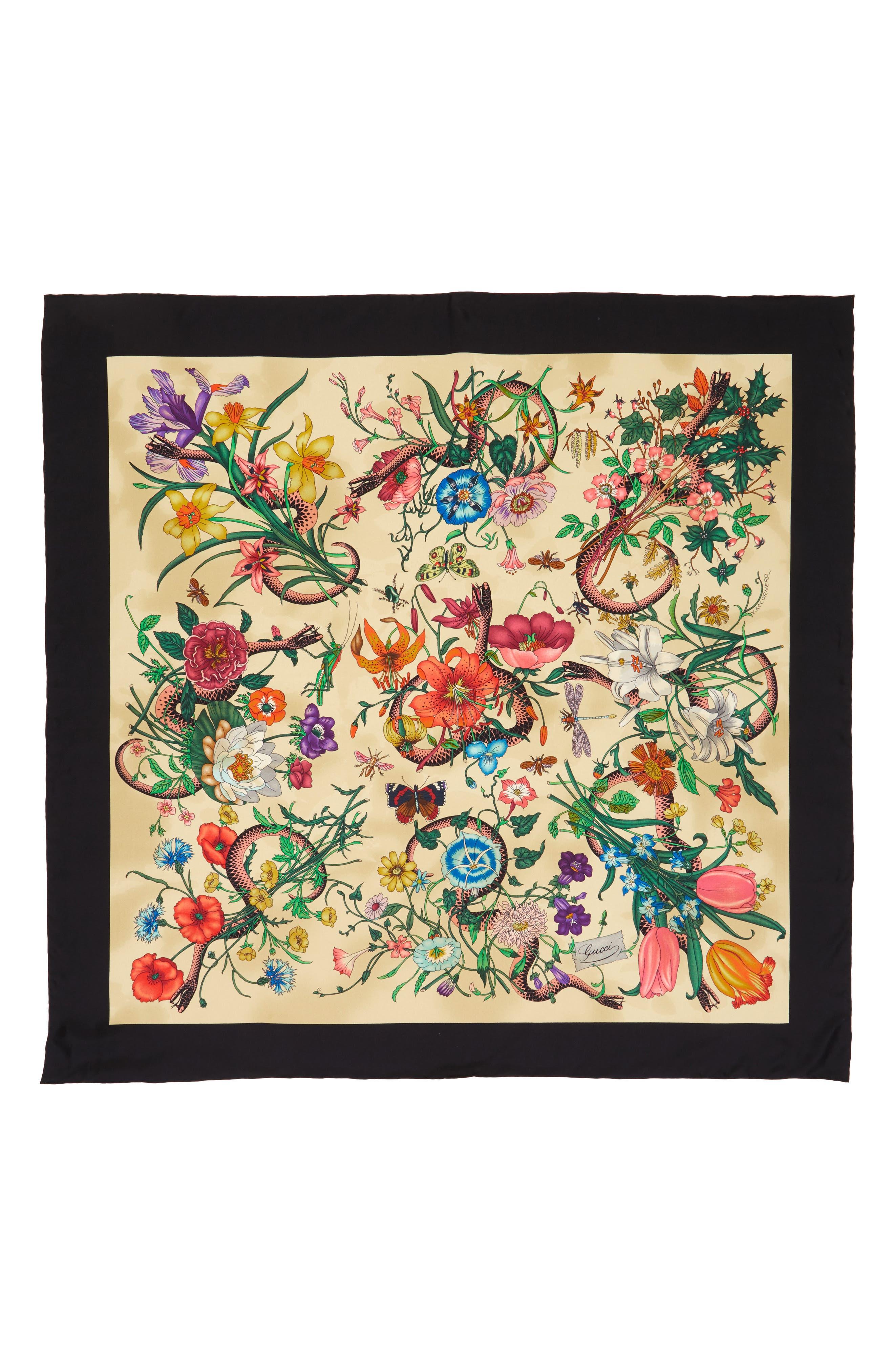 Foulard Flora Silk Scarf,                             Main thumbnail 1, color,                             Ivory