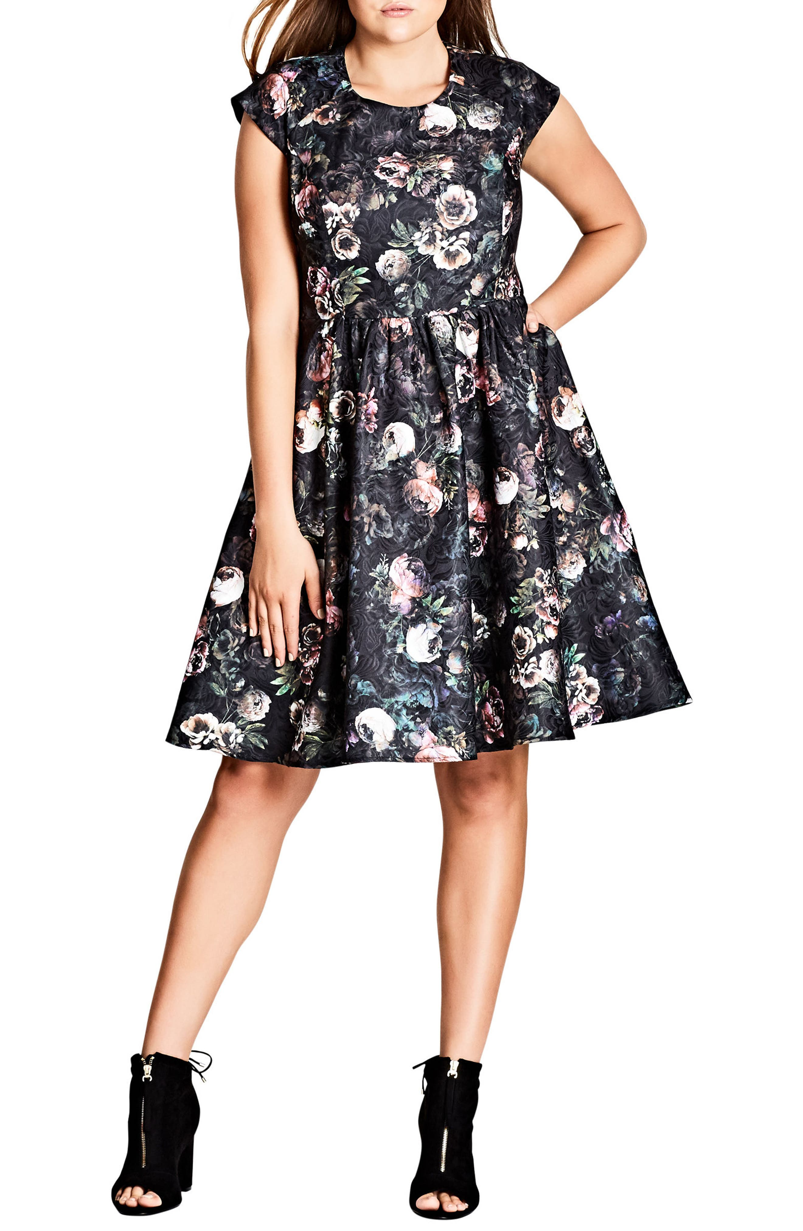 Alternate Image 1 Selected - City Chic Vintage Peony Fit & Flare Dress (Plus Size)