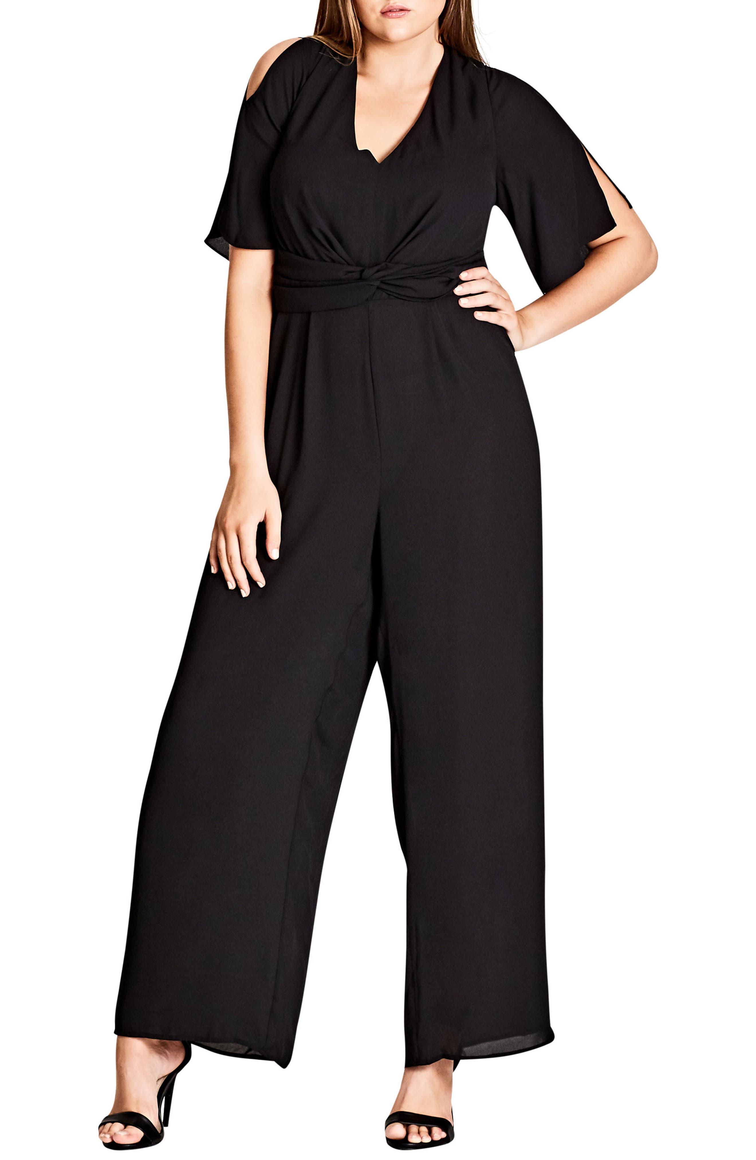 City Chic Front Twist Jumpsuit (Plus Size)