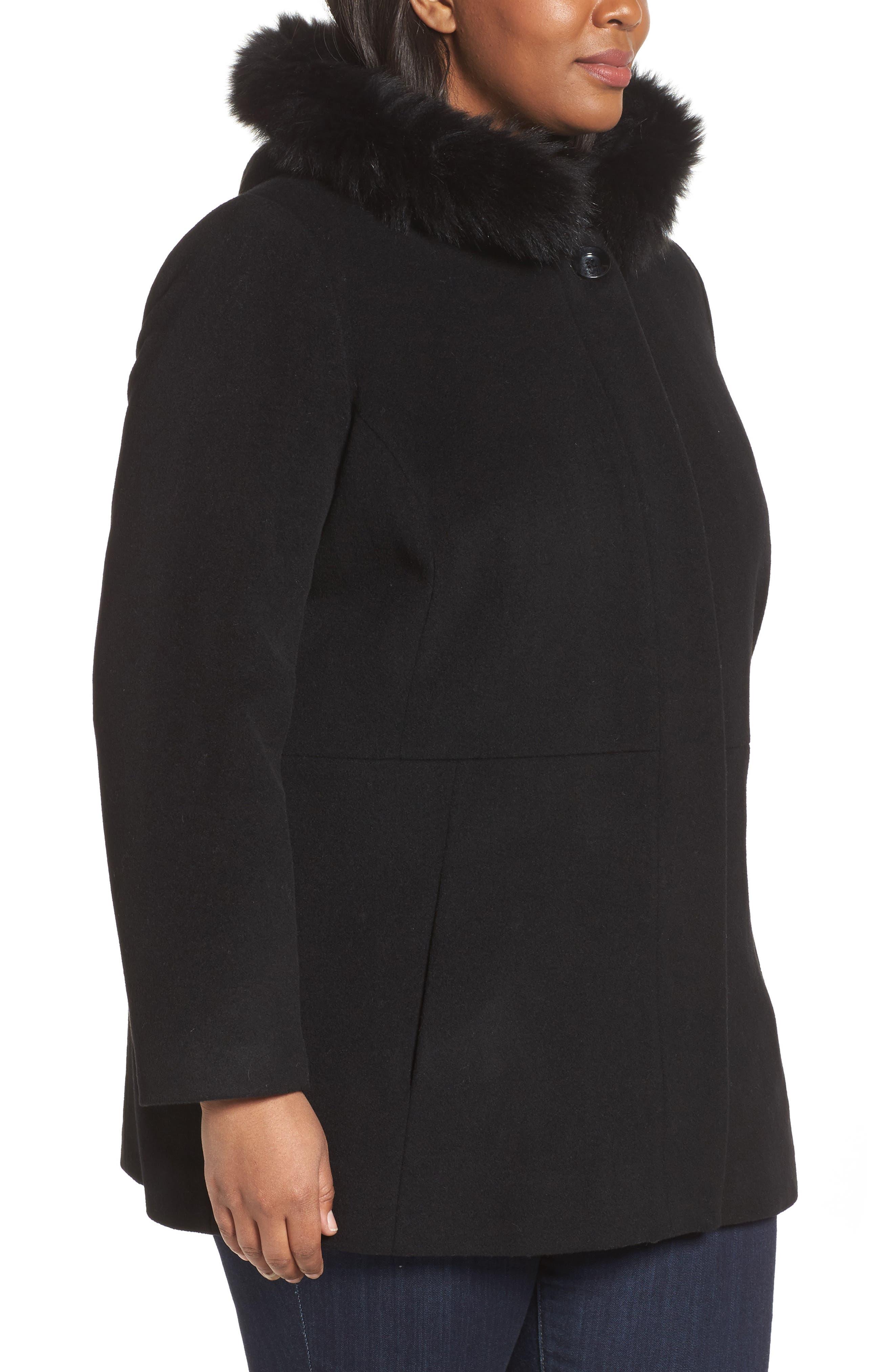 Alternate Image 3  - Sachi Genuine Fox Fur Trim Hooded Wool Blend Jacket (Plus Size)