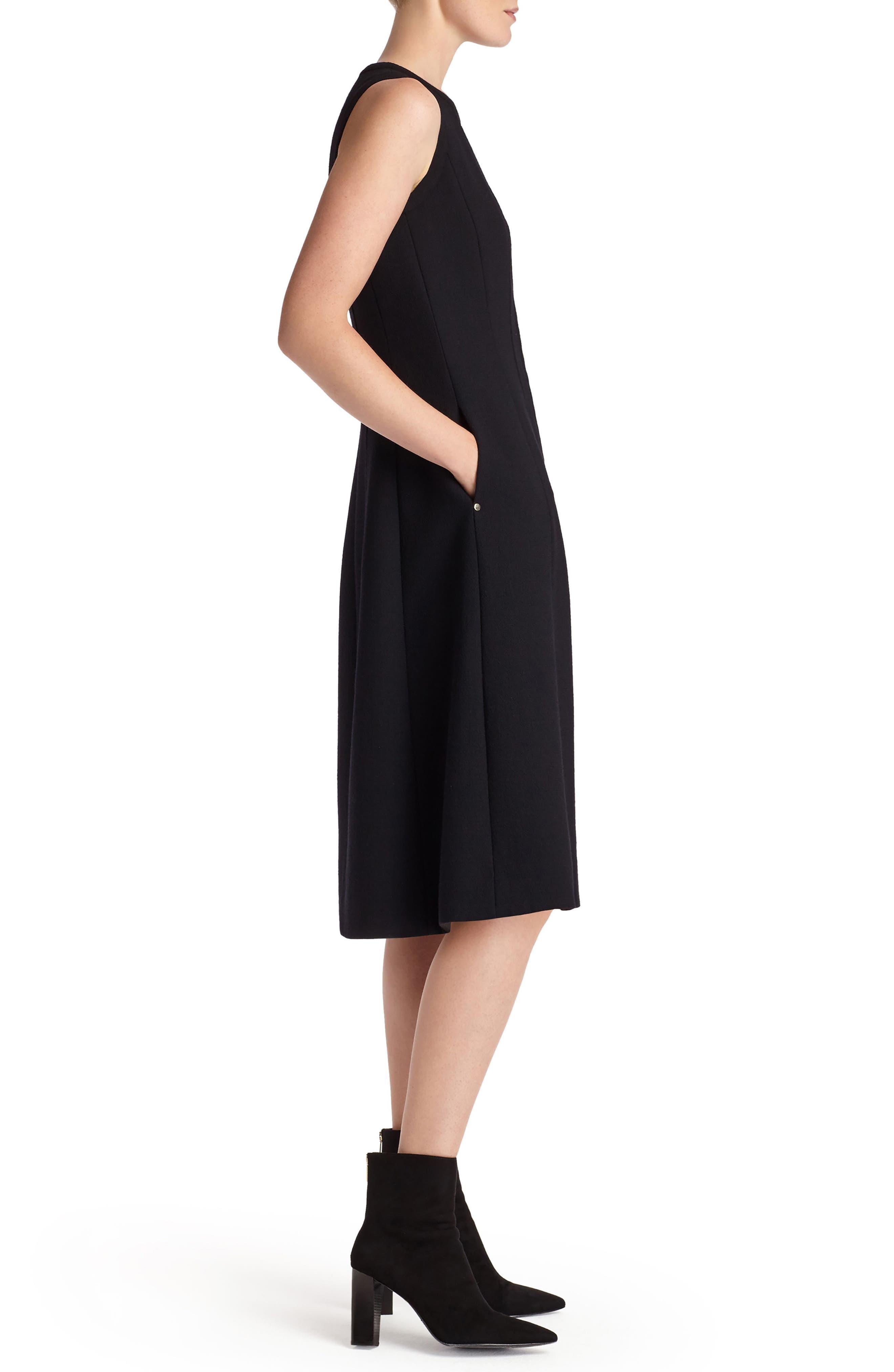 Celinda Nouveau Crepe Dress,                             Alternate thumbnail 3, color,                             Black