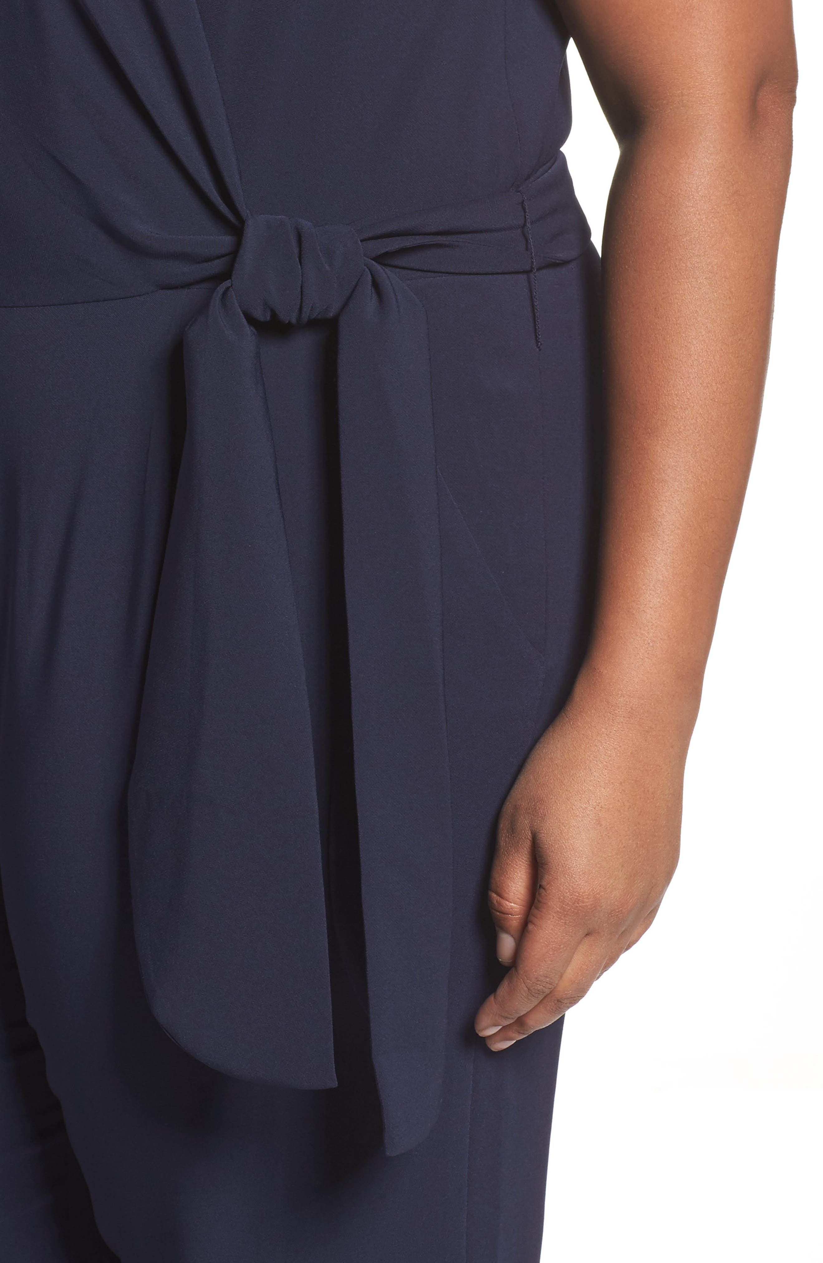 Alternate Image 4  - Tahari Wide Leg Crop Jumpsuit (Plus Size)